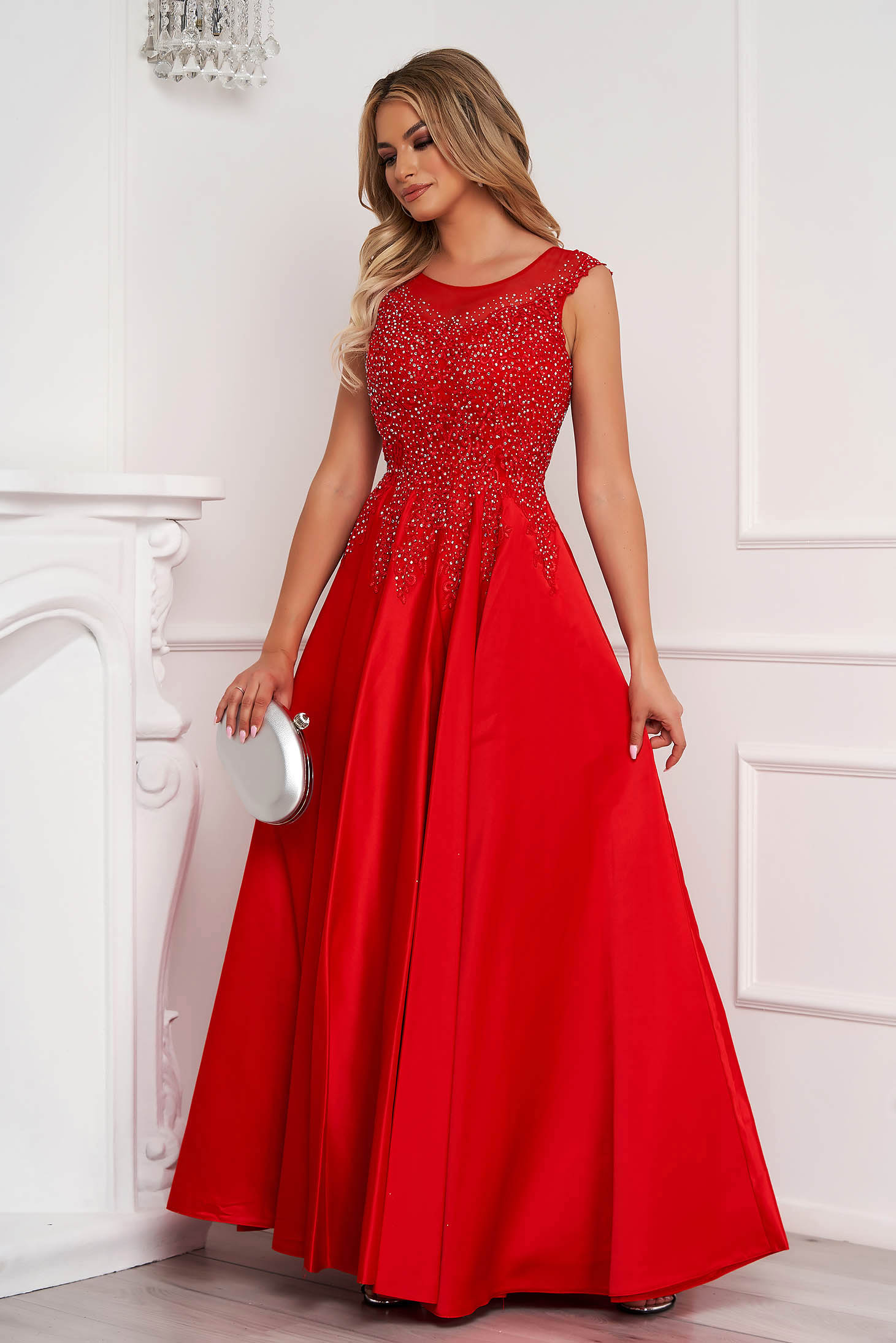 Red dress long cloche sleeveless with crystal embellished details occasional