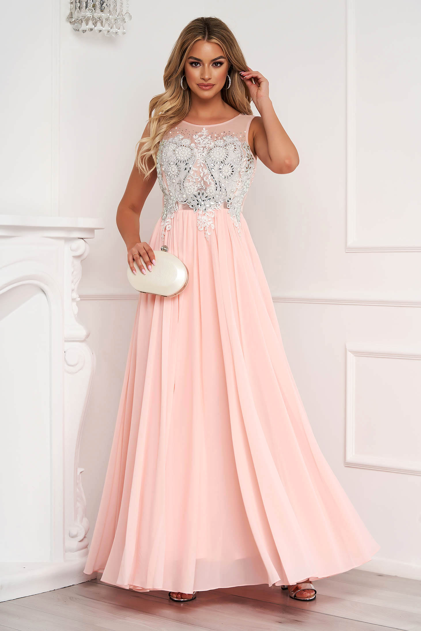 Lightpink dress long cloche from veil fabric with crystal embellished details sleeveless occasional