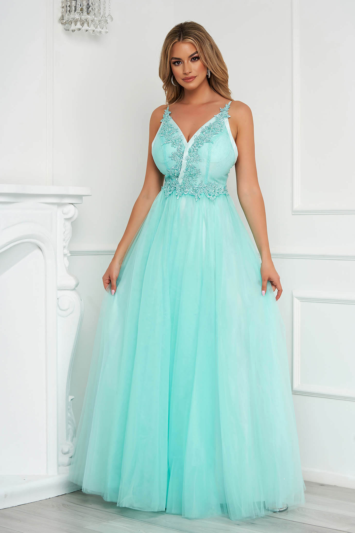 Mint dress long cloche from tulle adjustable straps with push-up cups occasional