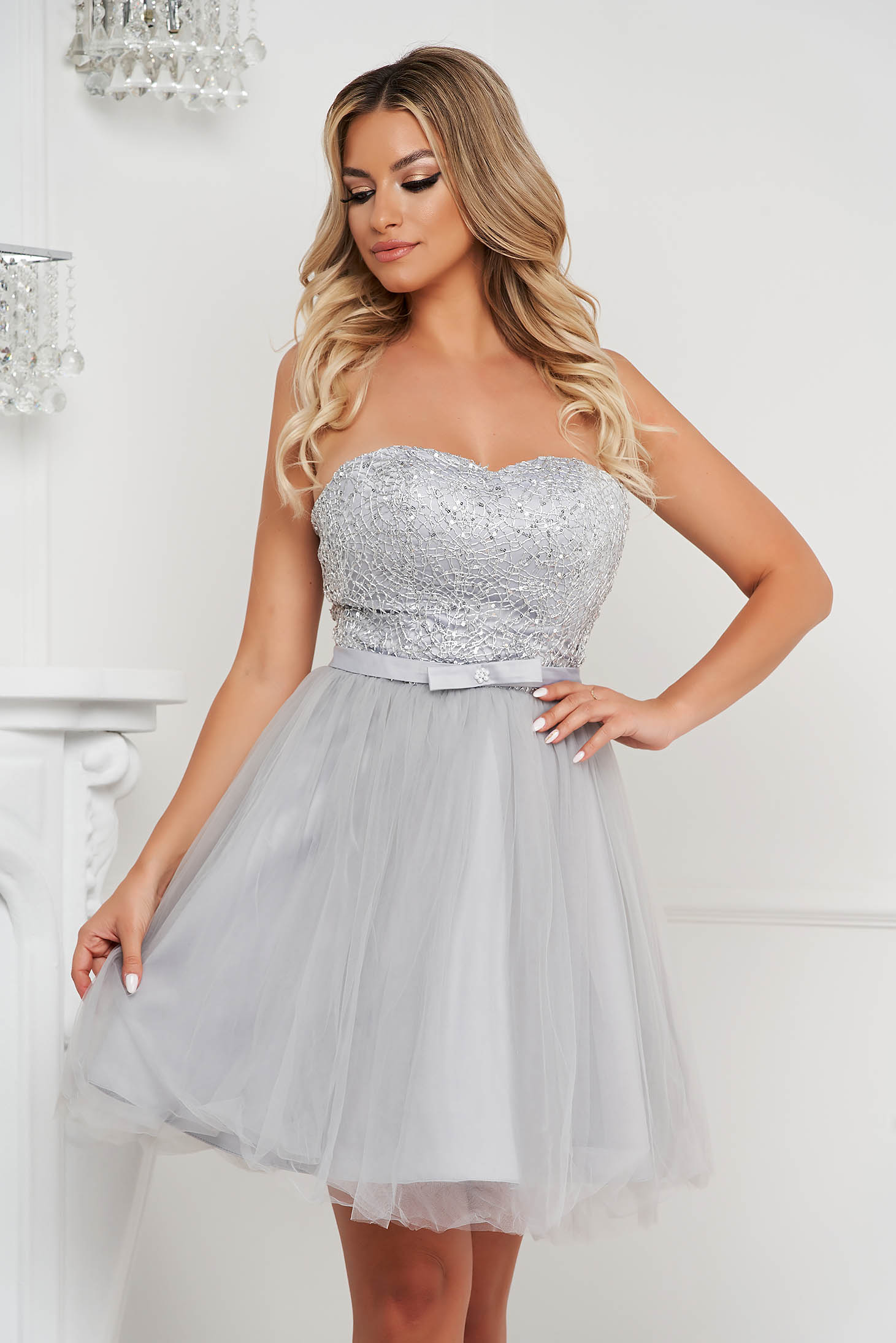Grey dress short cut occasional cloche from tulle strapless with sequin embellished details
