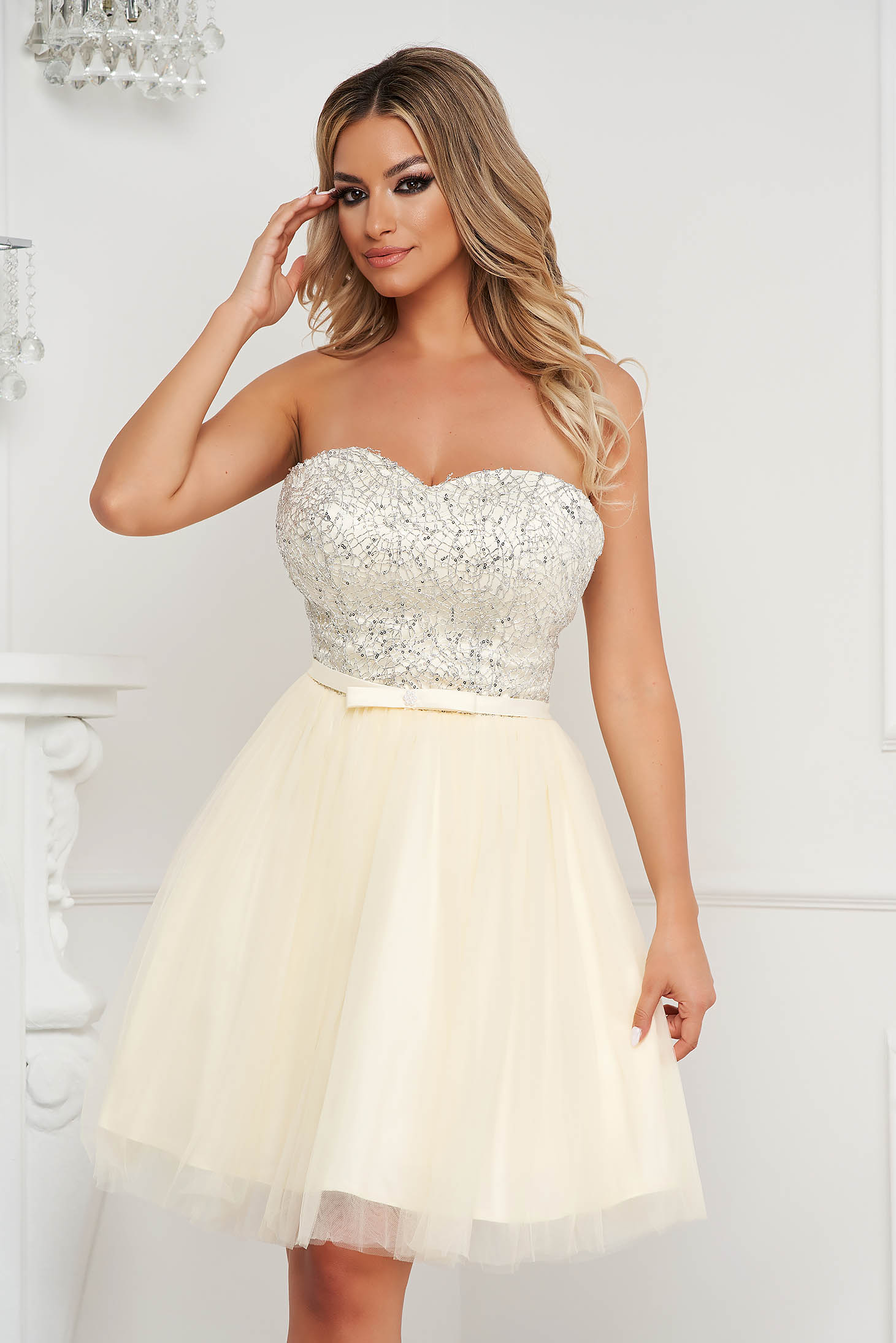 Ivory dress short cut occasional cloche from tulle strapless with sequin embellished details