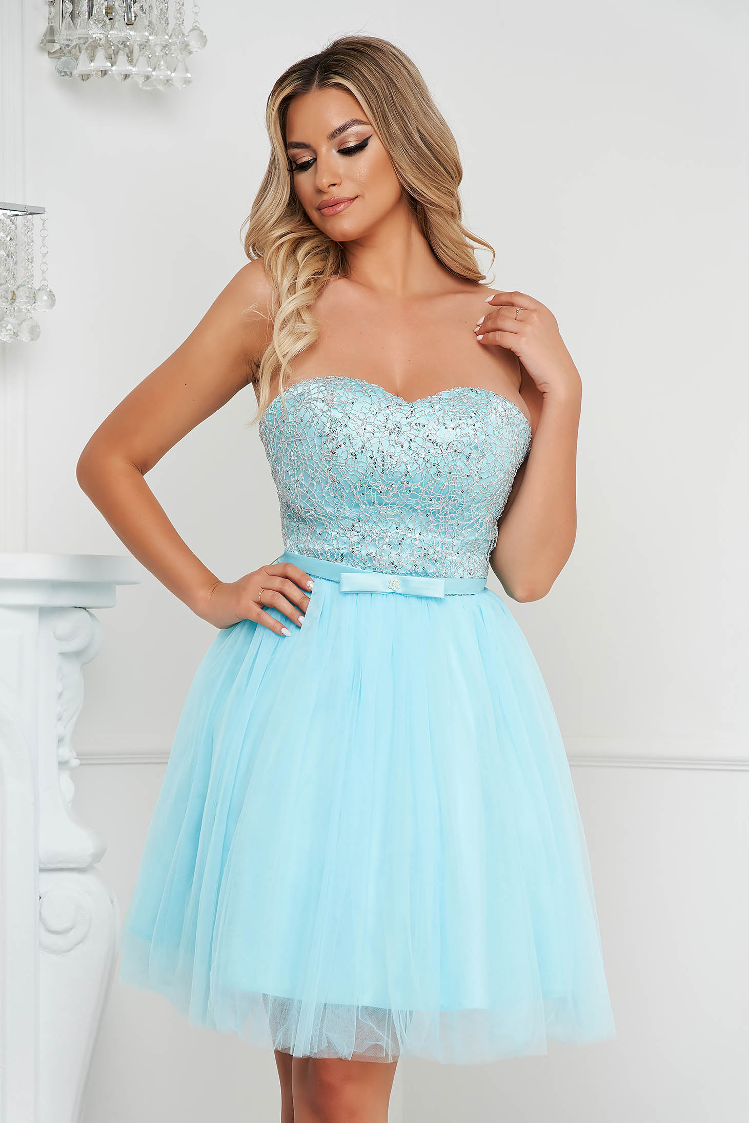 Aqua dress short cut occasional cloche from tulle strapless with sequin embellished details