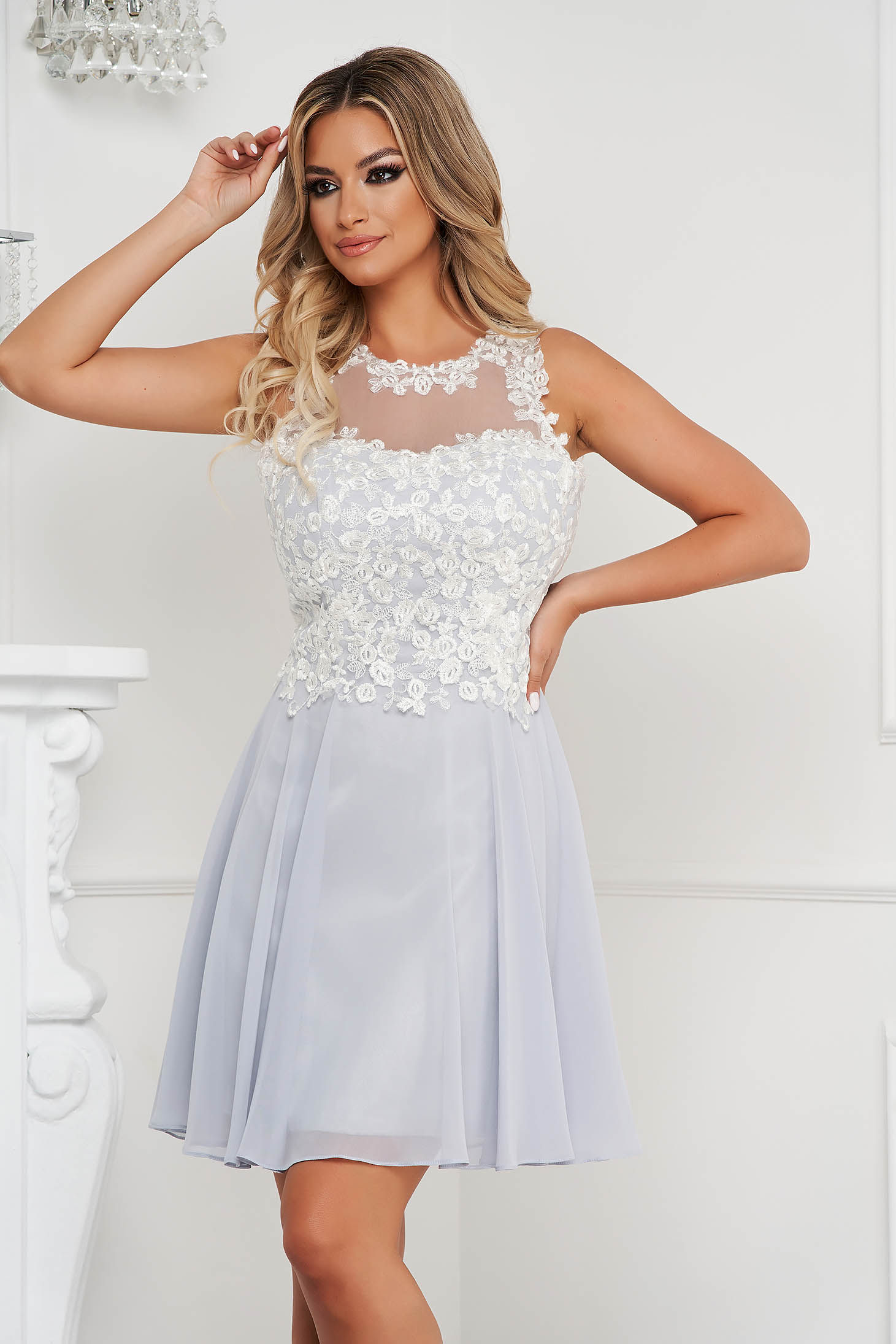Grey dress short cut occasional from veil fabric with embroidery details sleeveless