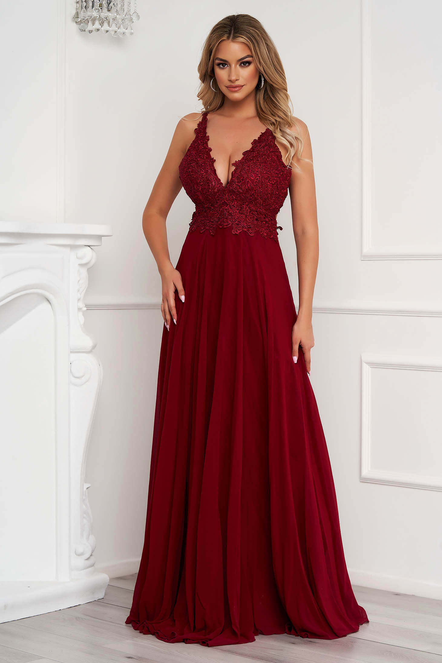 Burgundy dress long occasional from veil fabric bare back with push-up cups