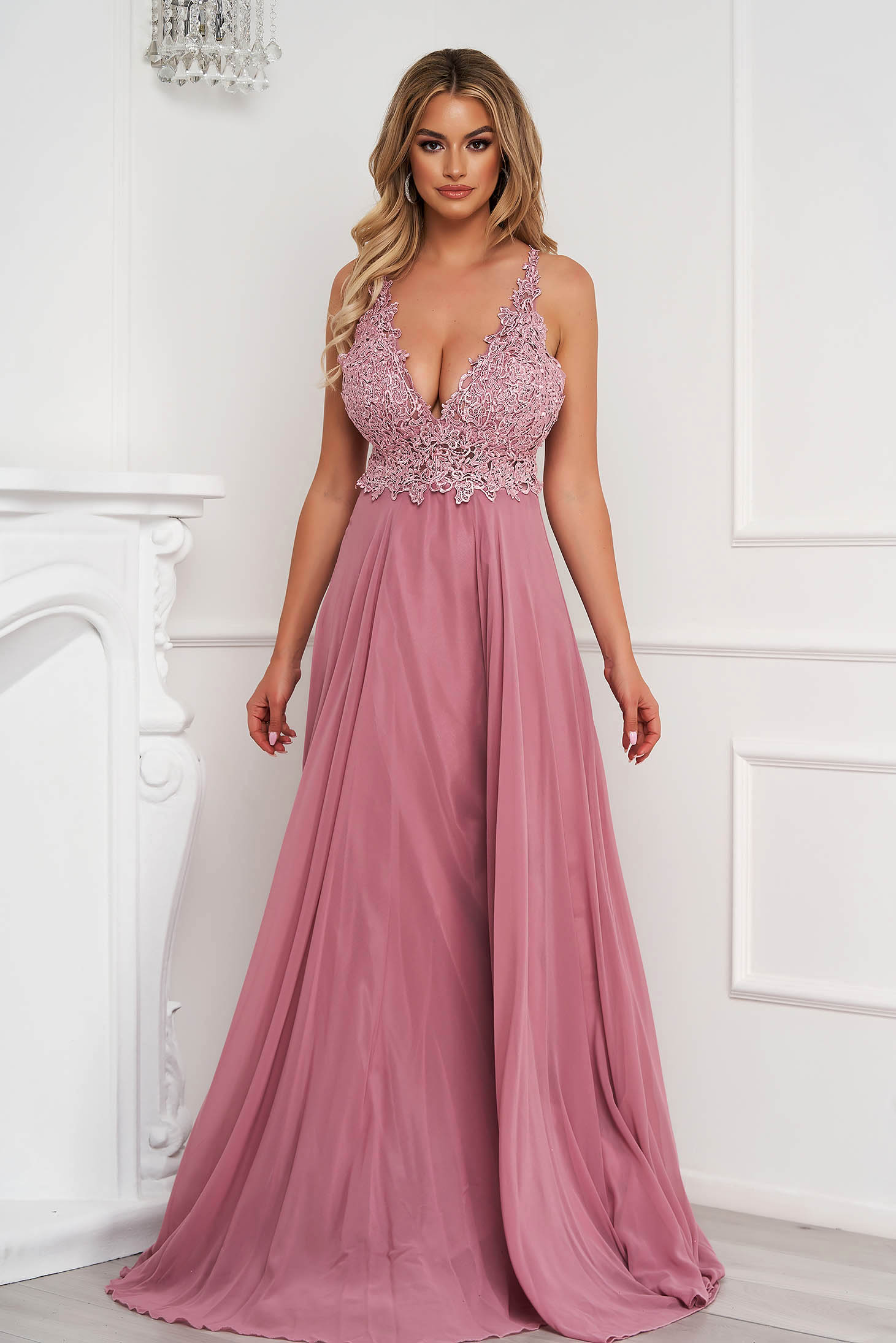 Lightpink dress long occasional from veil fabric bare back with push-up cups