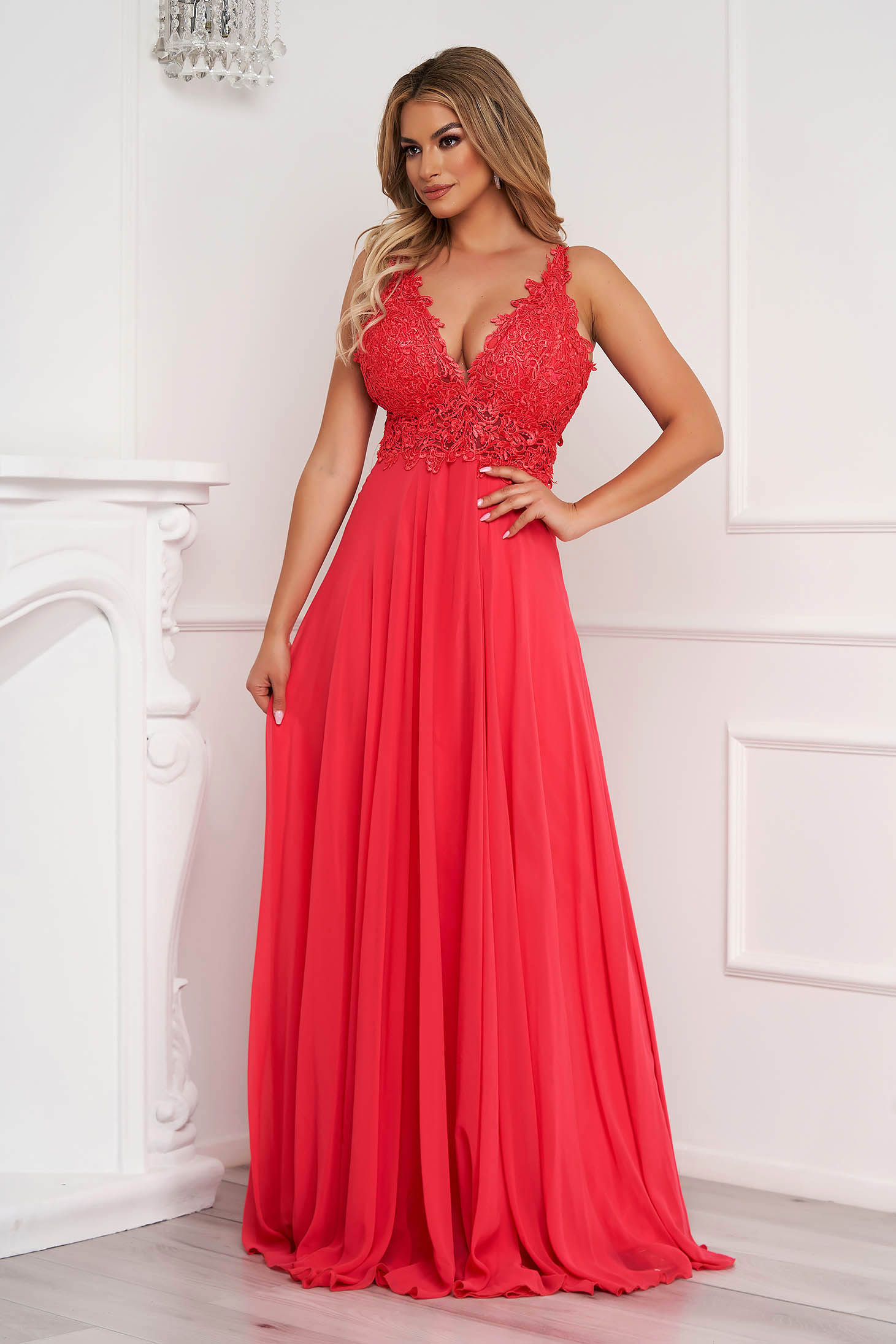 Coral dress long occasional from veil fabric bare back with push-up cups