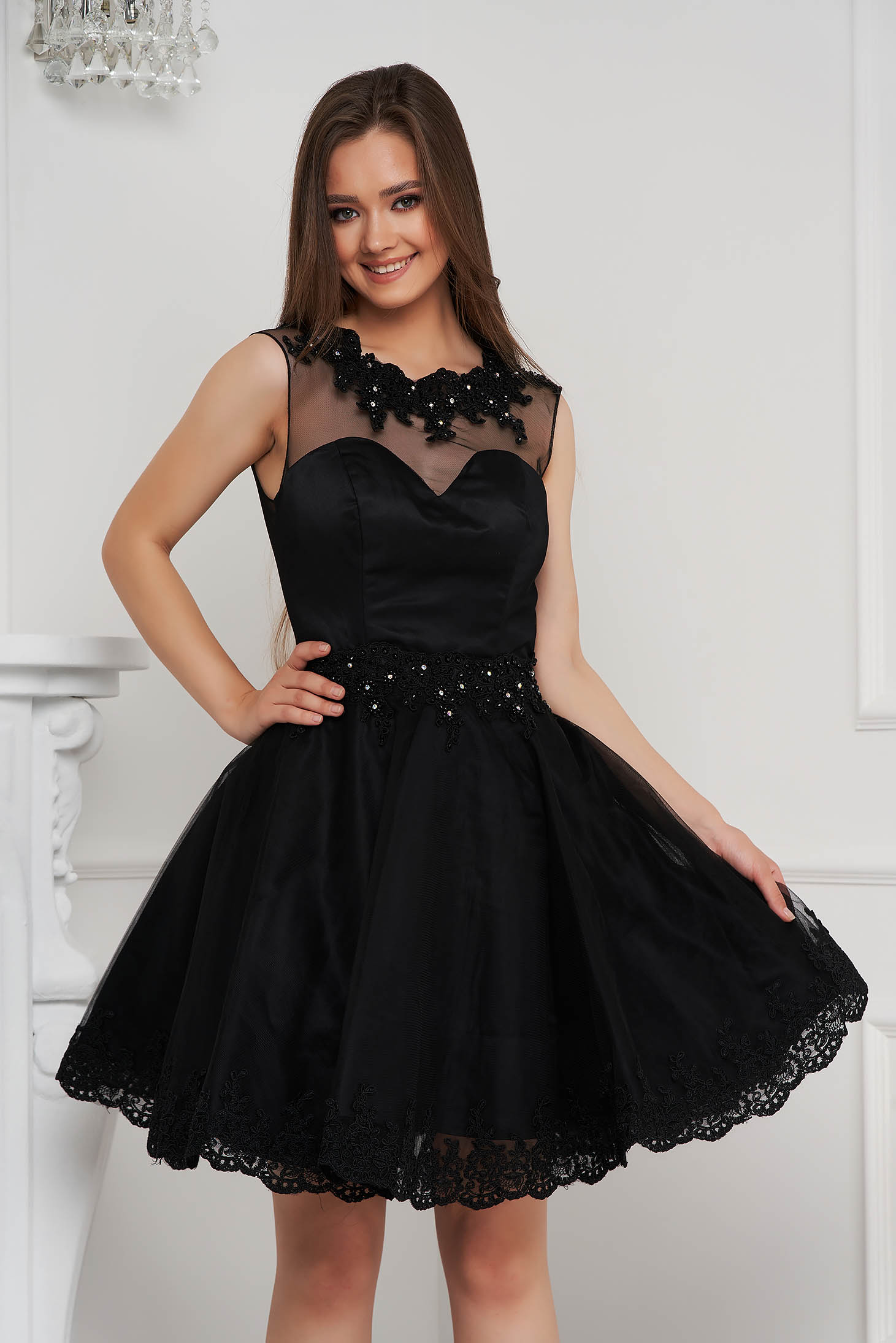 Black dress short cut cloche from tulle with pearls with embellished accessories