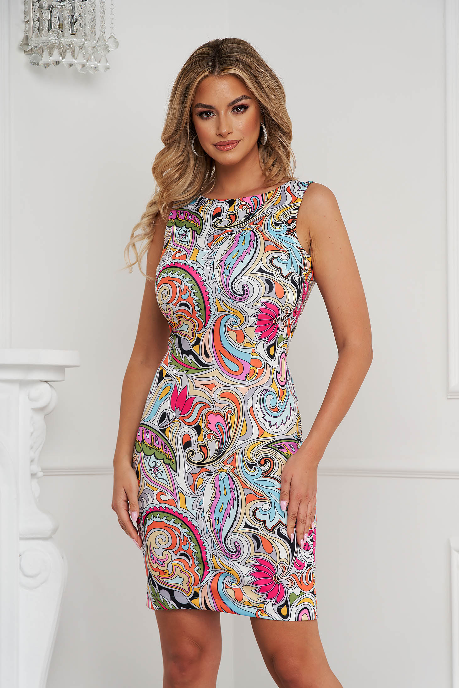 StarShinerS dress office short cut pencil sleeveless thin fabric with graphic details