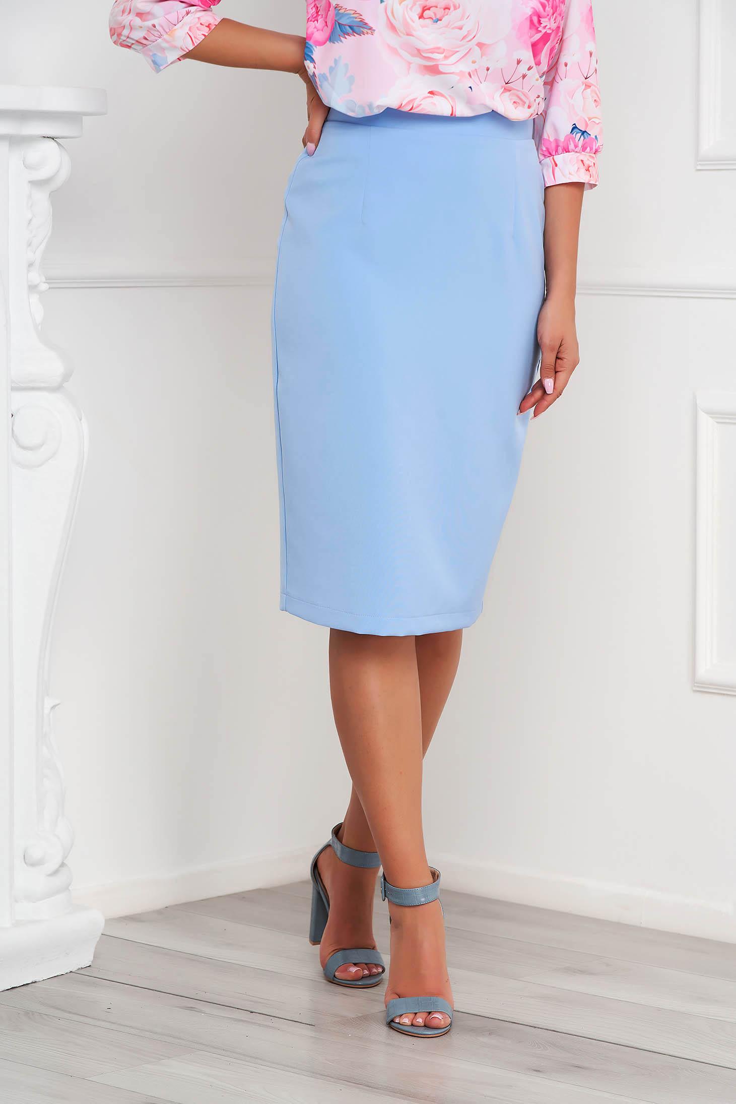 StarShinerS lightblue high waisted skirt office pencil cloth midi from elastic fabric