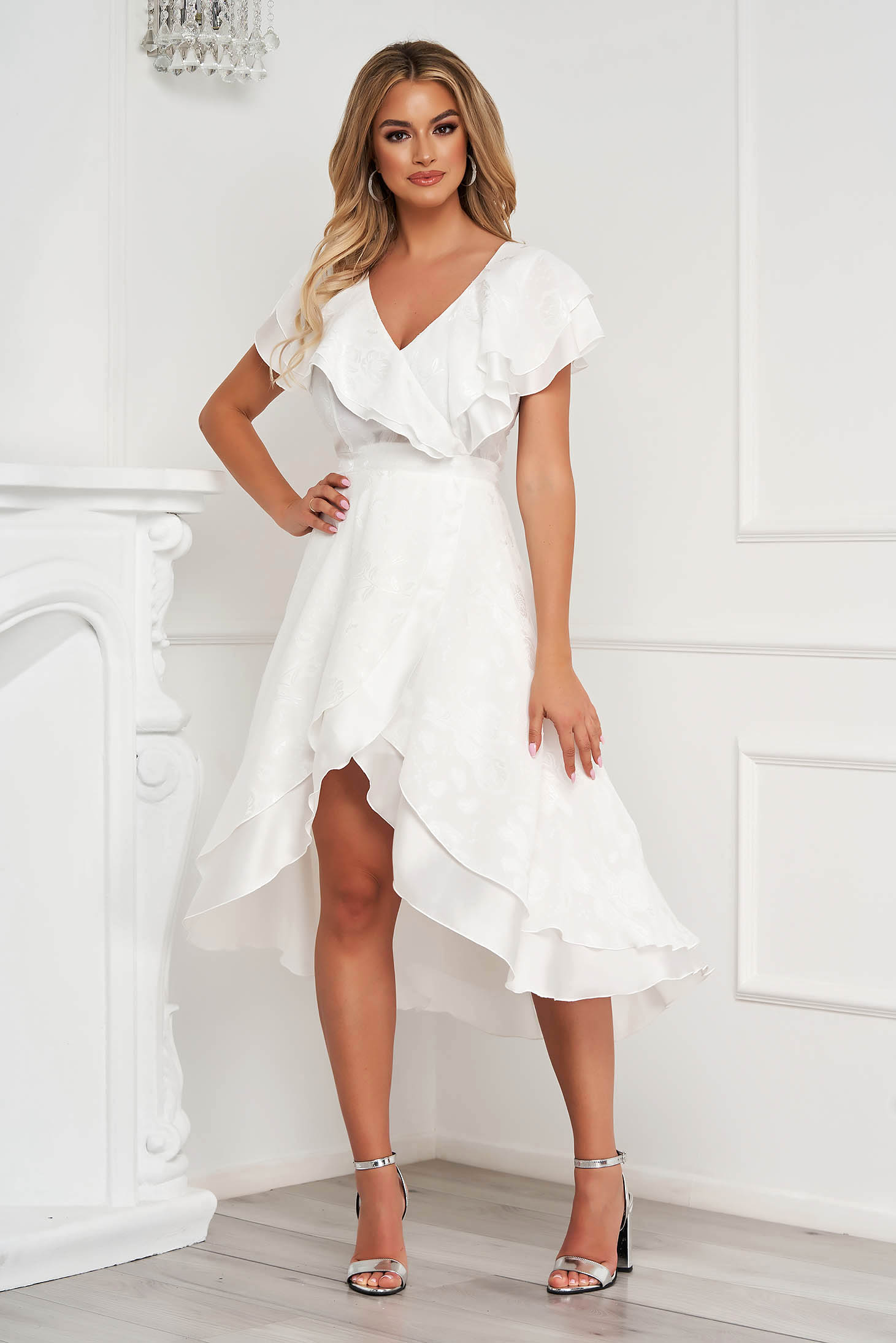 StarShinerS dress midi occasional cloche asymmetrical airy fabric with ruffles on the chest