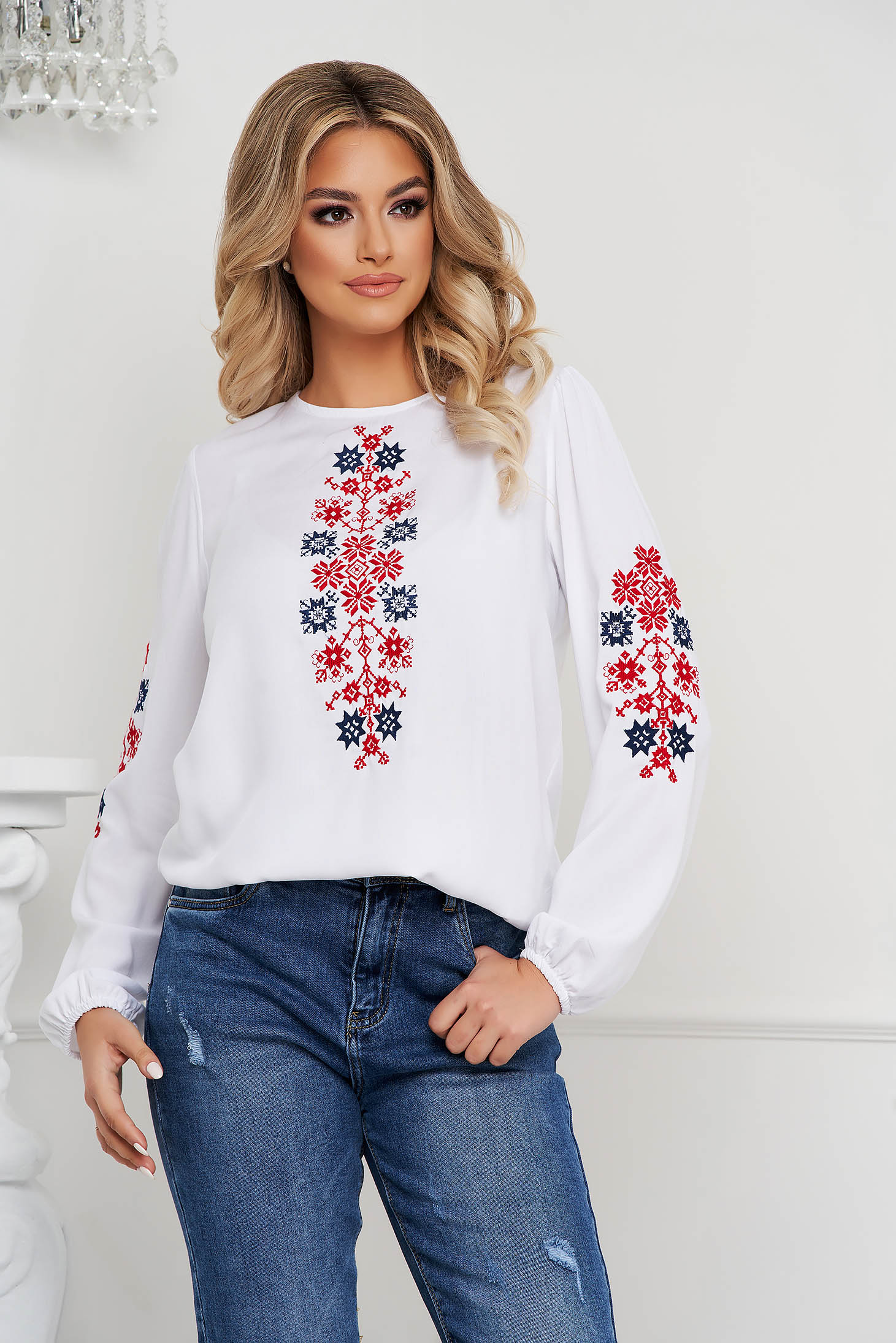 Red women`s blouse cotton loose fit with embroidery details