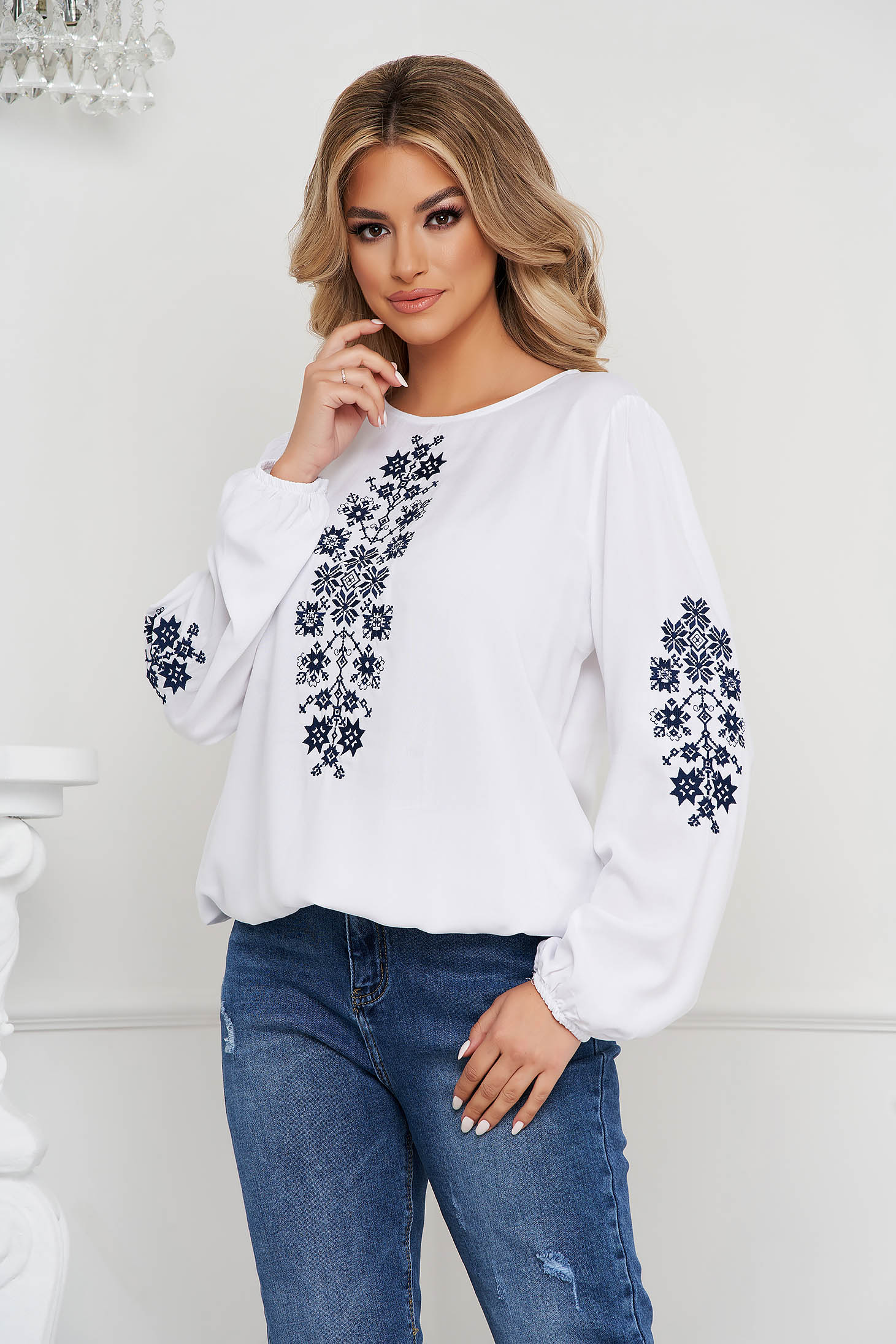Darkblue women`s blouse cotton loose fit with embroidery details
