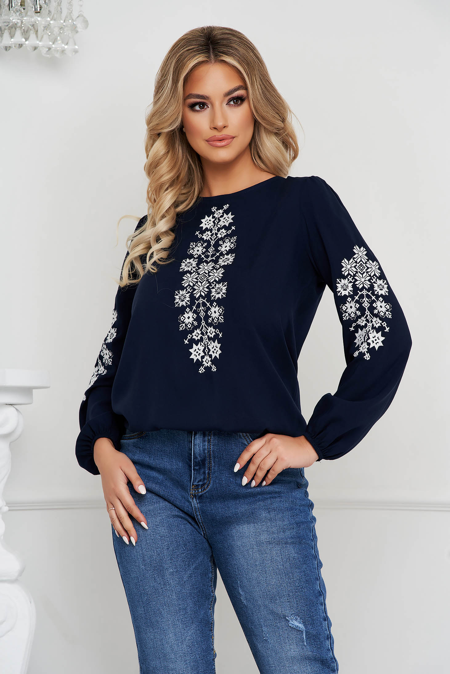 Darkblue women`s blouse loose fit cotton with embroidery details