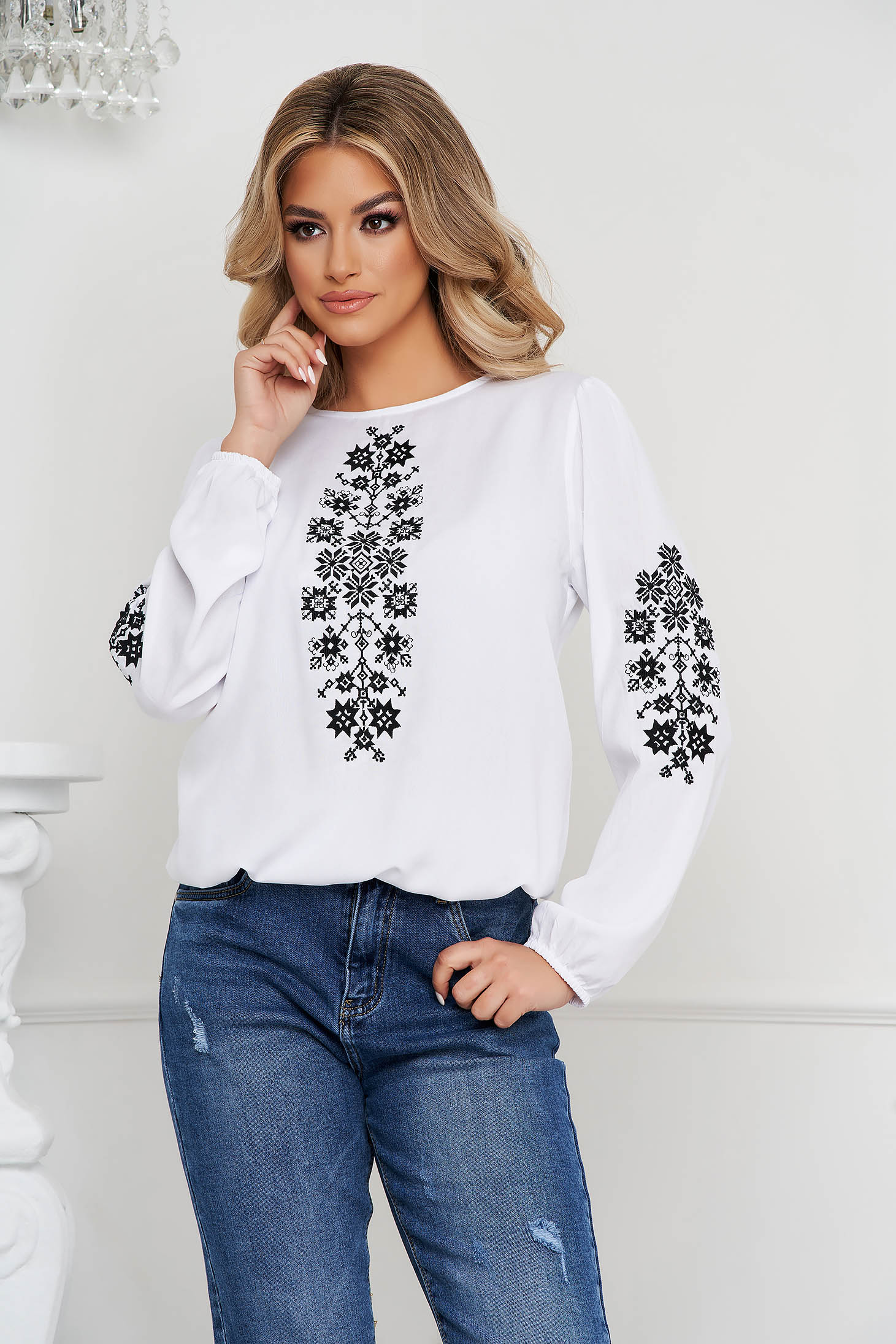 Black women`s blouse cotton loose fit with embroidery details