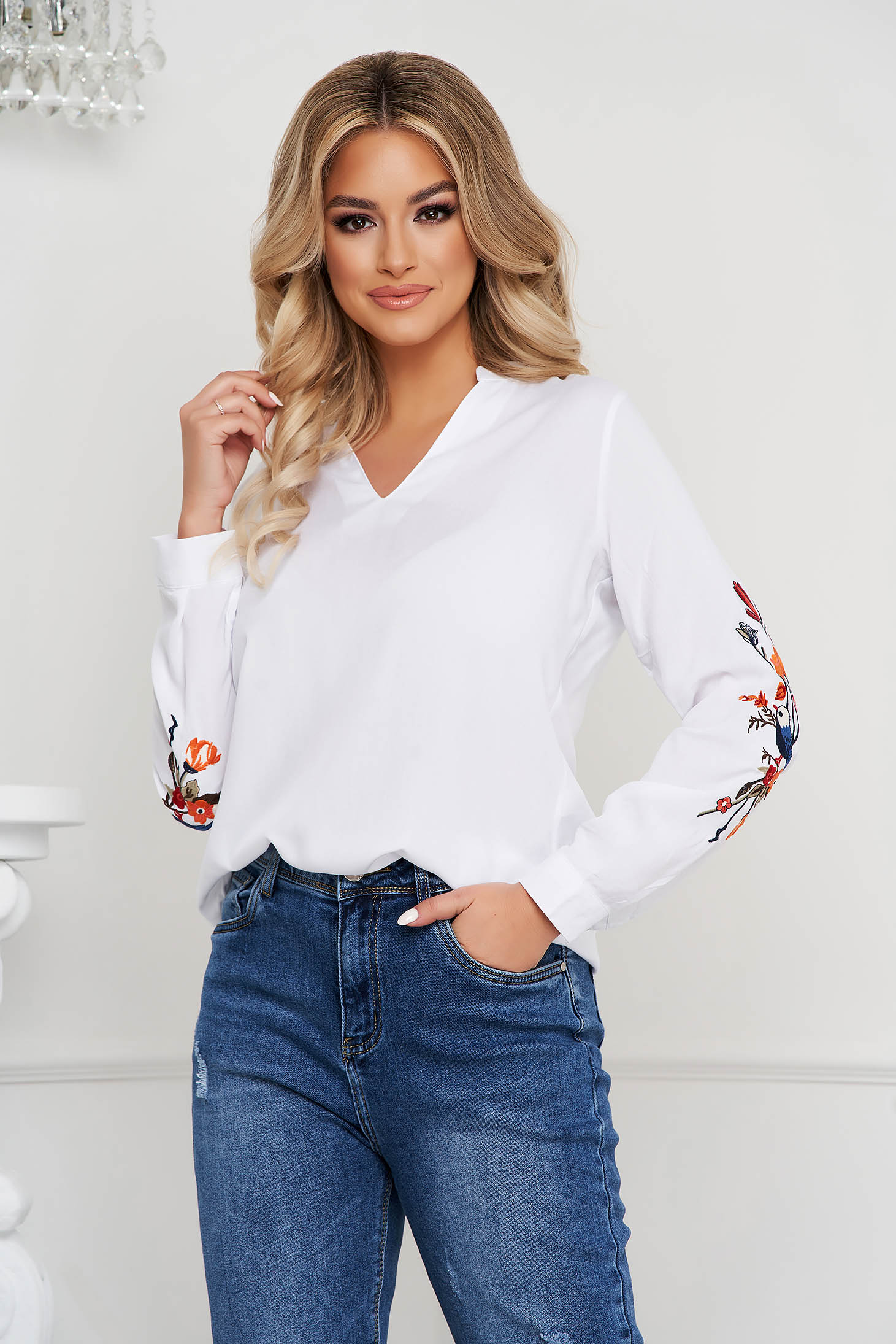 White women`s blouse loose fit cotton long sleeved