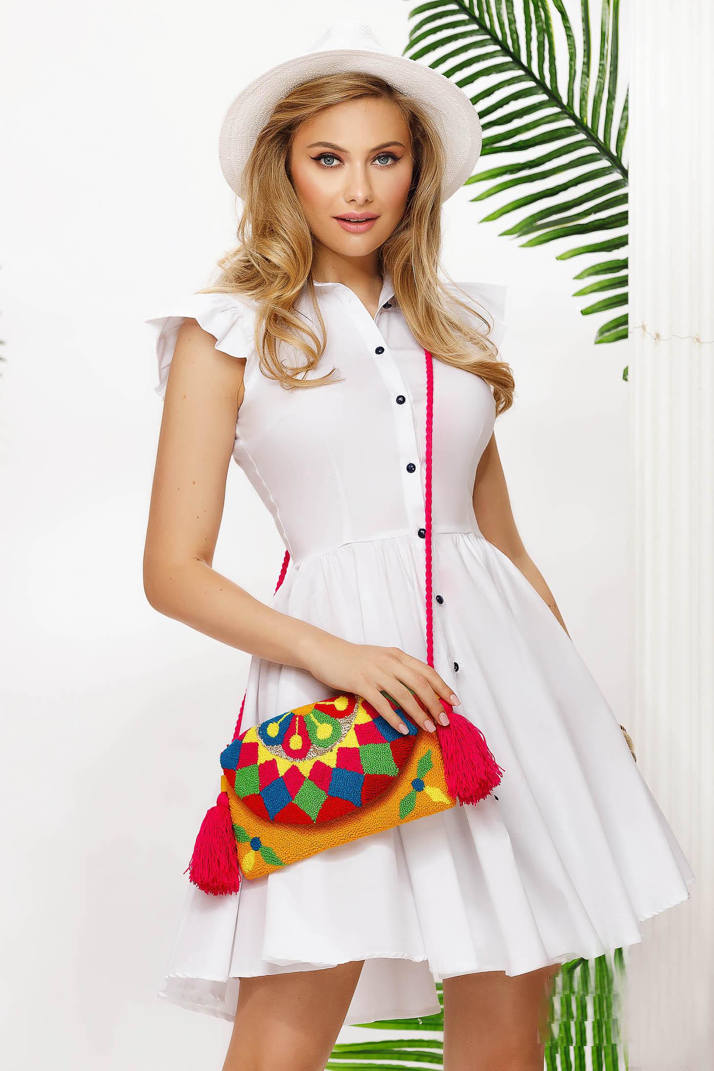 Pamutból készült fehér rövid harang ruha rugalmas anyagból fodros ujjakkal