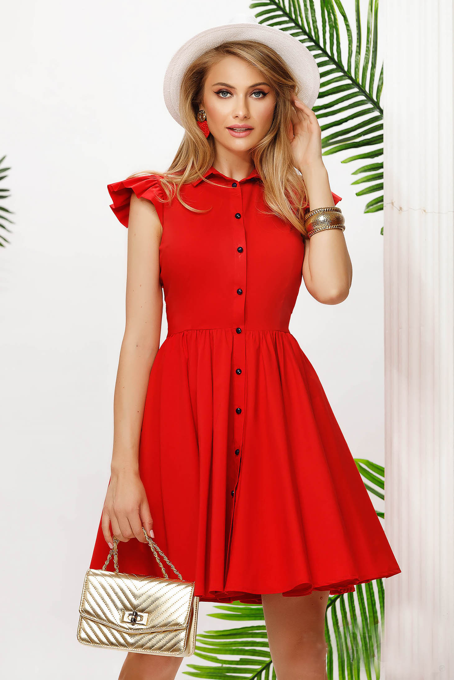 Red dress short cut cloche cotton from elastic fabric with ruffled sleeves