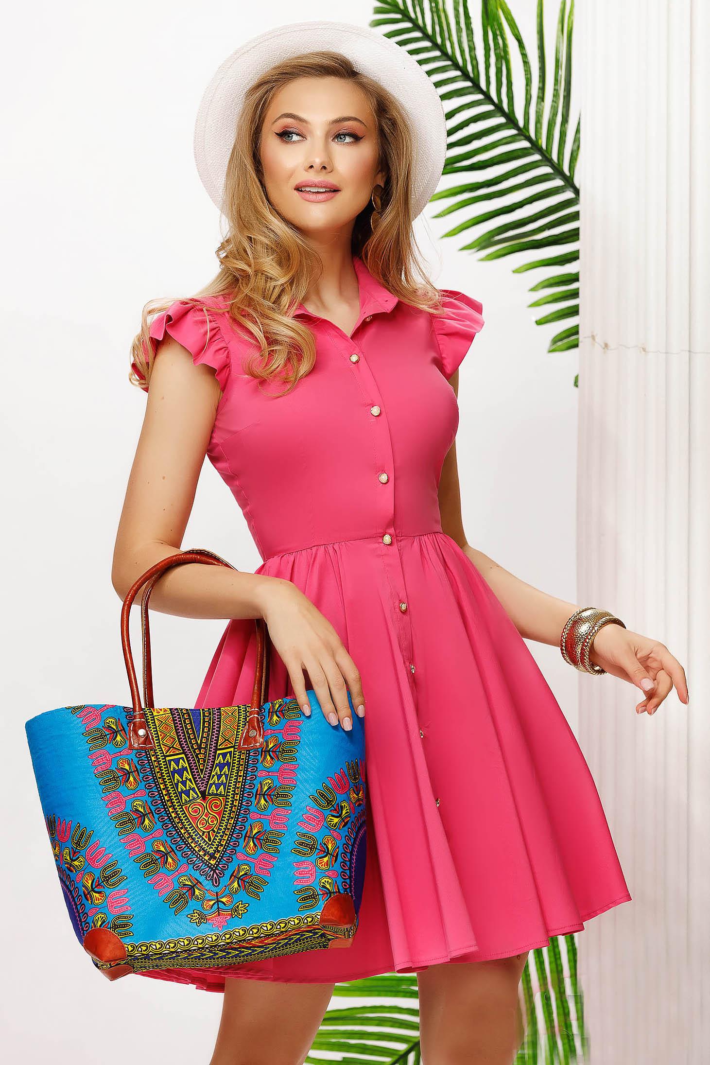 Rochie Fofy roz scurta in clos din bumbac elastic cu volanase la maneca