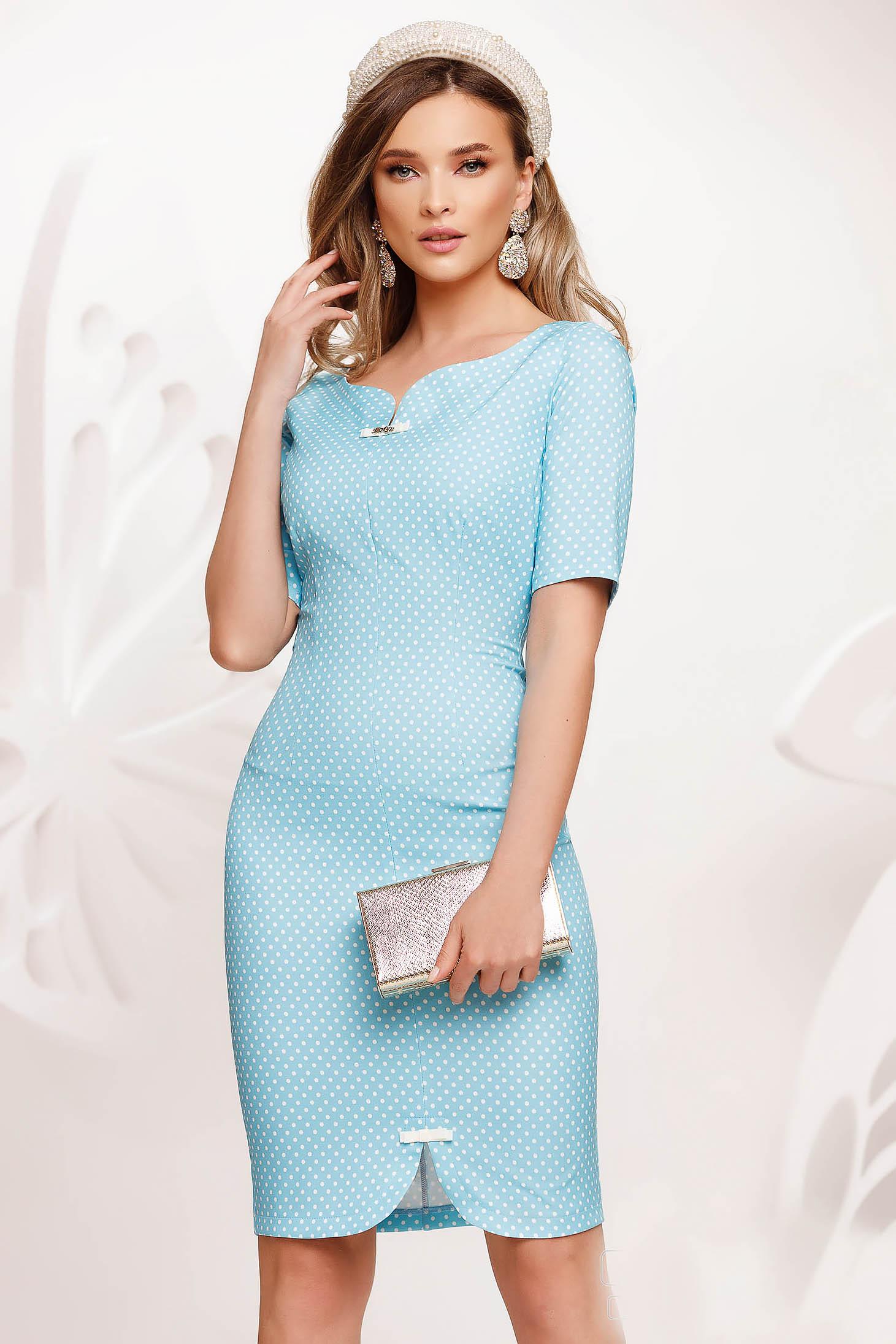 Lightblue dress short cut pencil slightly elastic fabric with bow accessories