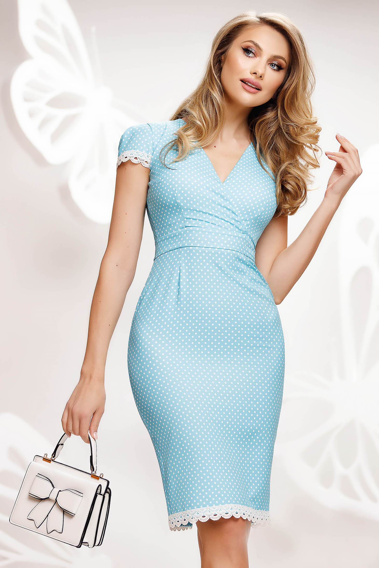 Lightblue dress midi pencil with lace details dots print from elastic fabric
