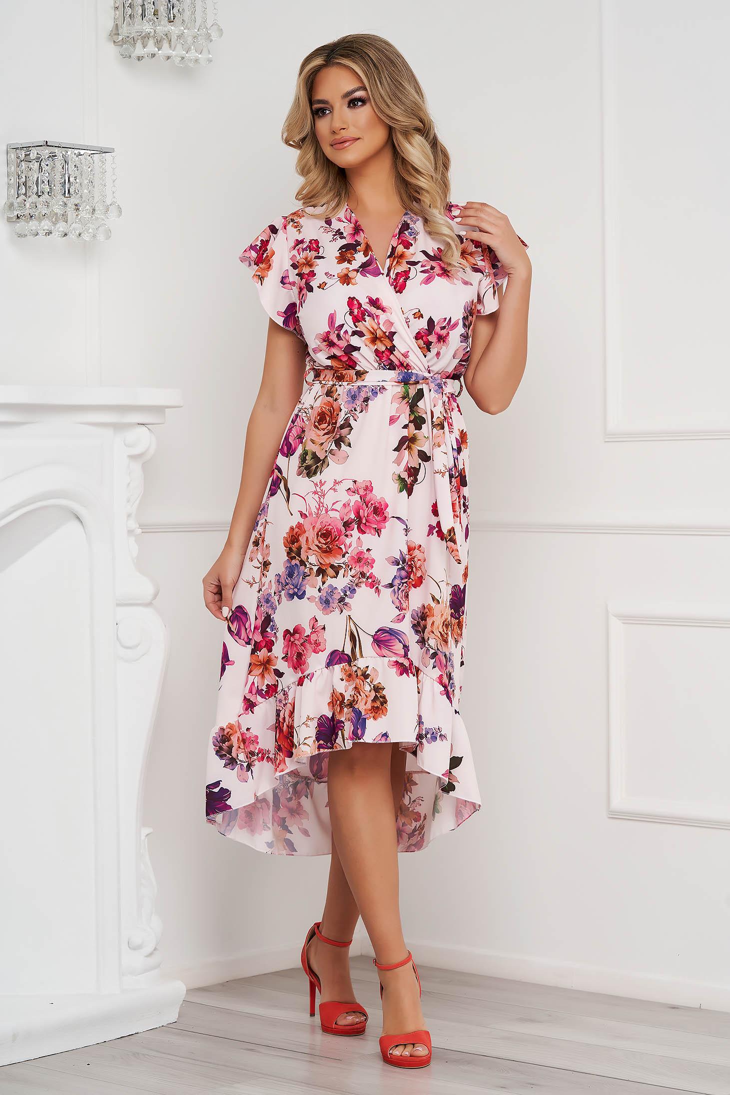 Dress midi asymmetrical cloche with elastic waist with floral print