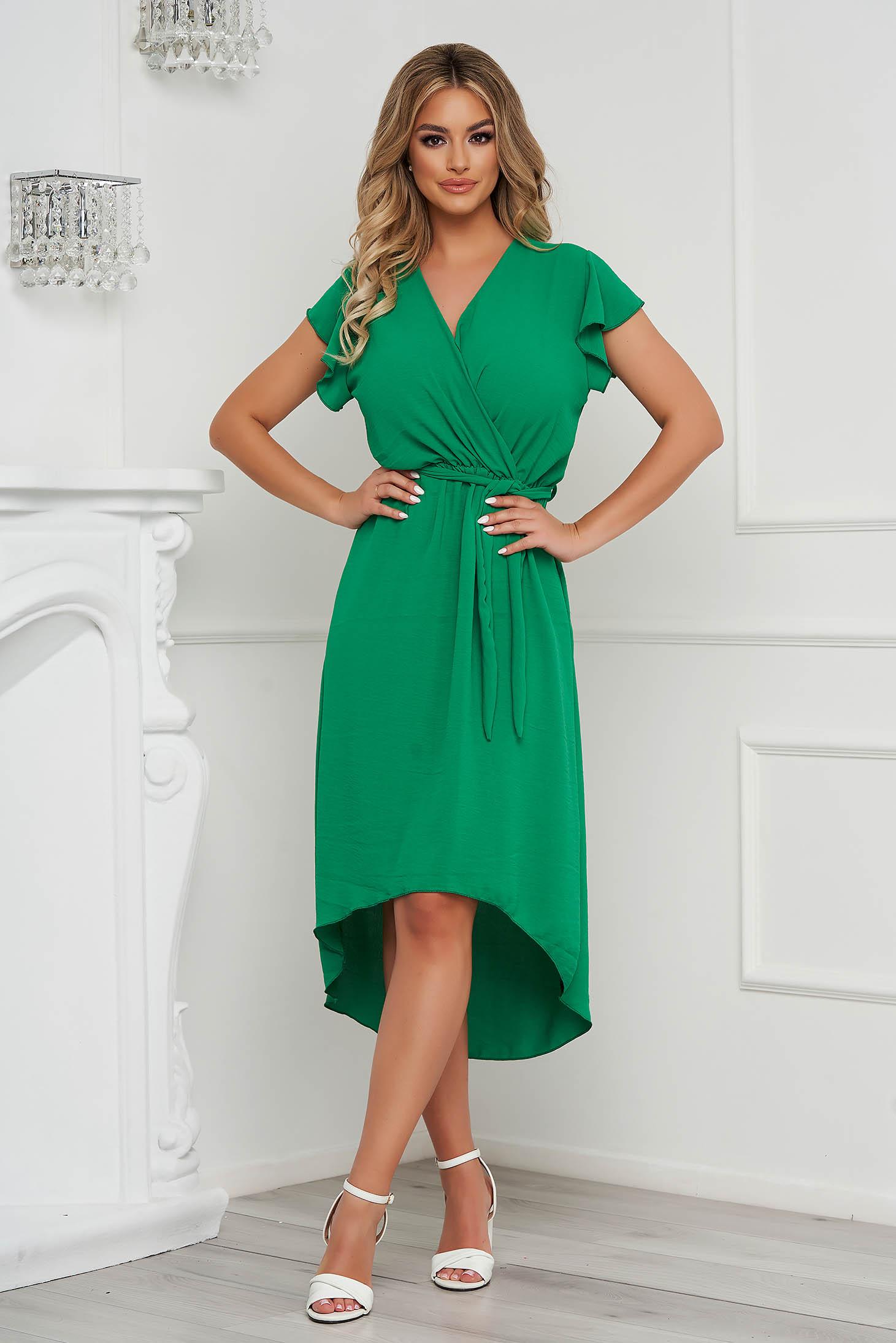 Green dress midi asymmetrical cloche with elastic waist airy fabric