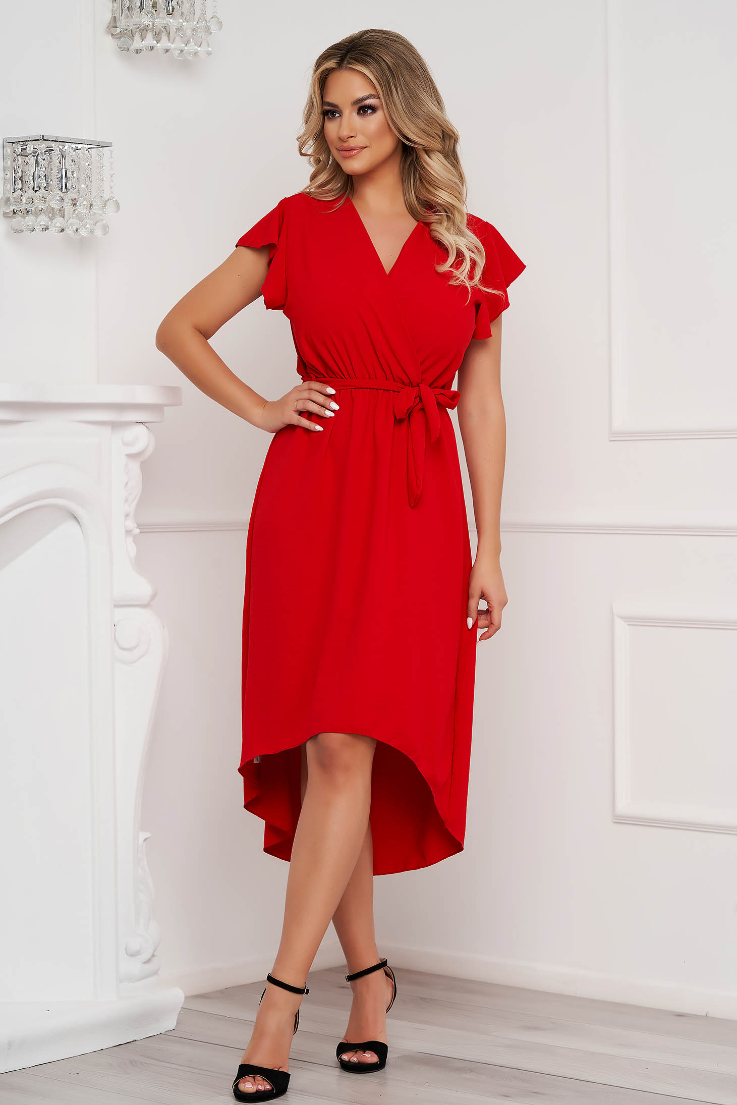 Rochie Lady Pandora rosie midi asimetrica in clos cu elastic in talie din material vaporos