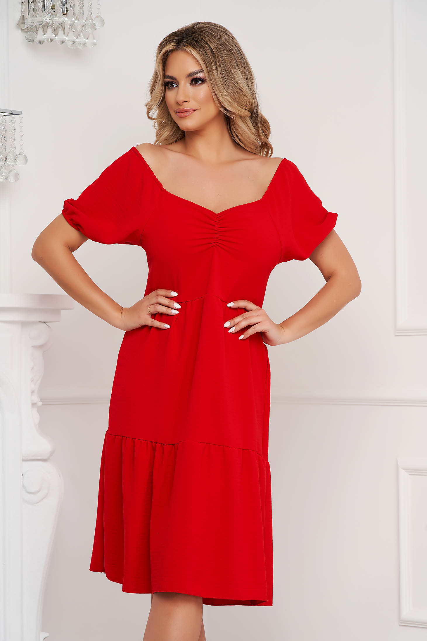 Red dress midi loose fit on the shoulders thin fabric