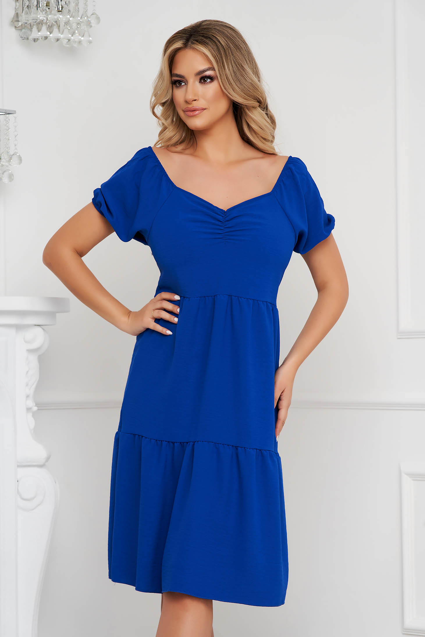 Blue dress midi loose fit on the shoulders thin fabric
