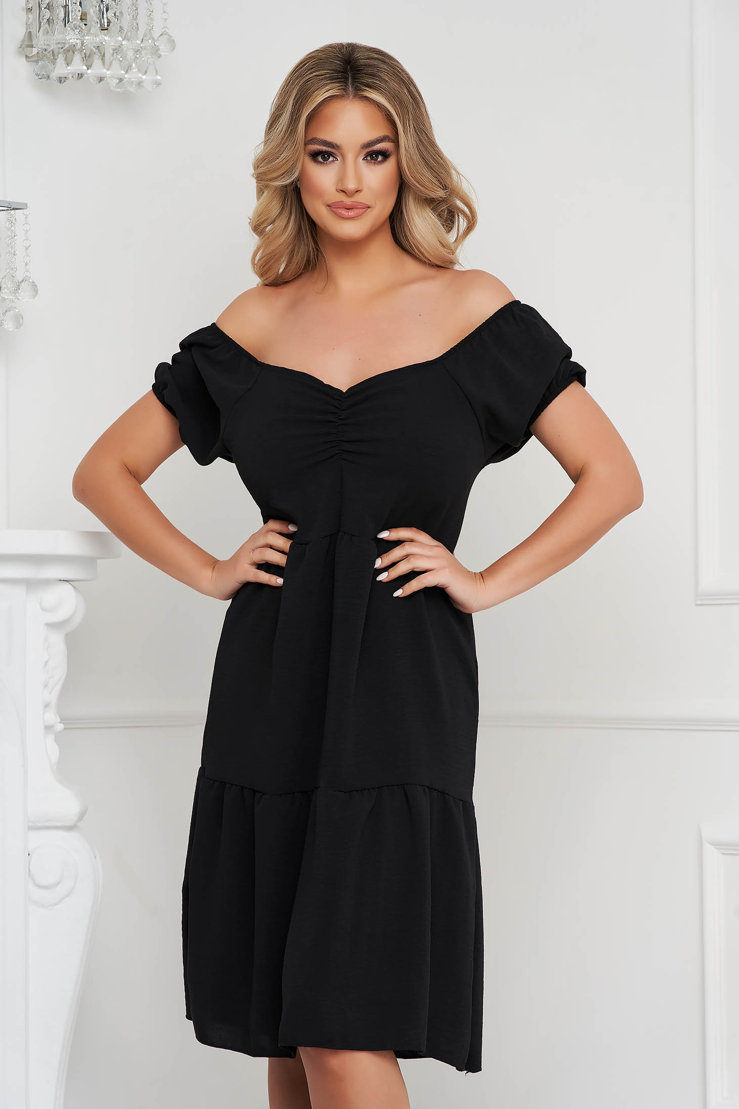 Black dress midi loose fit on the shoulders thin fabric