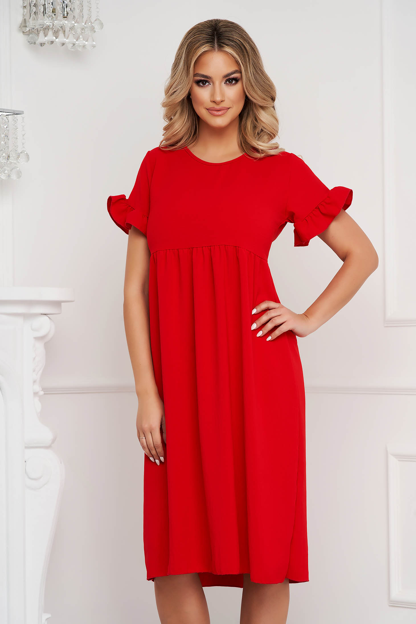 Red dress midi loose fit with ruffled sleeves thin fabric