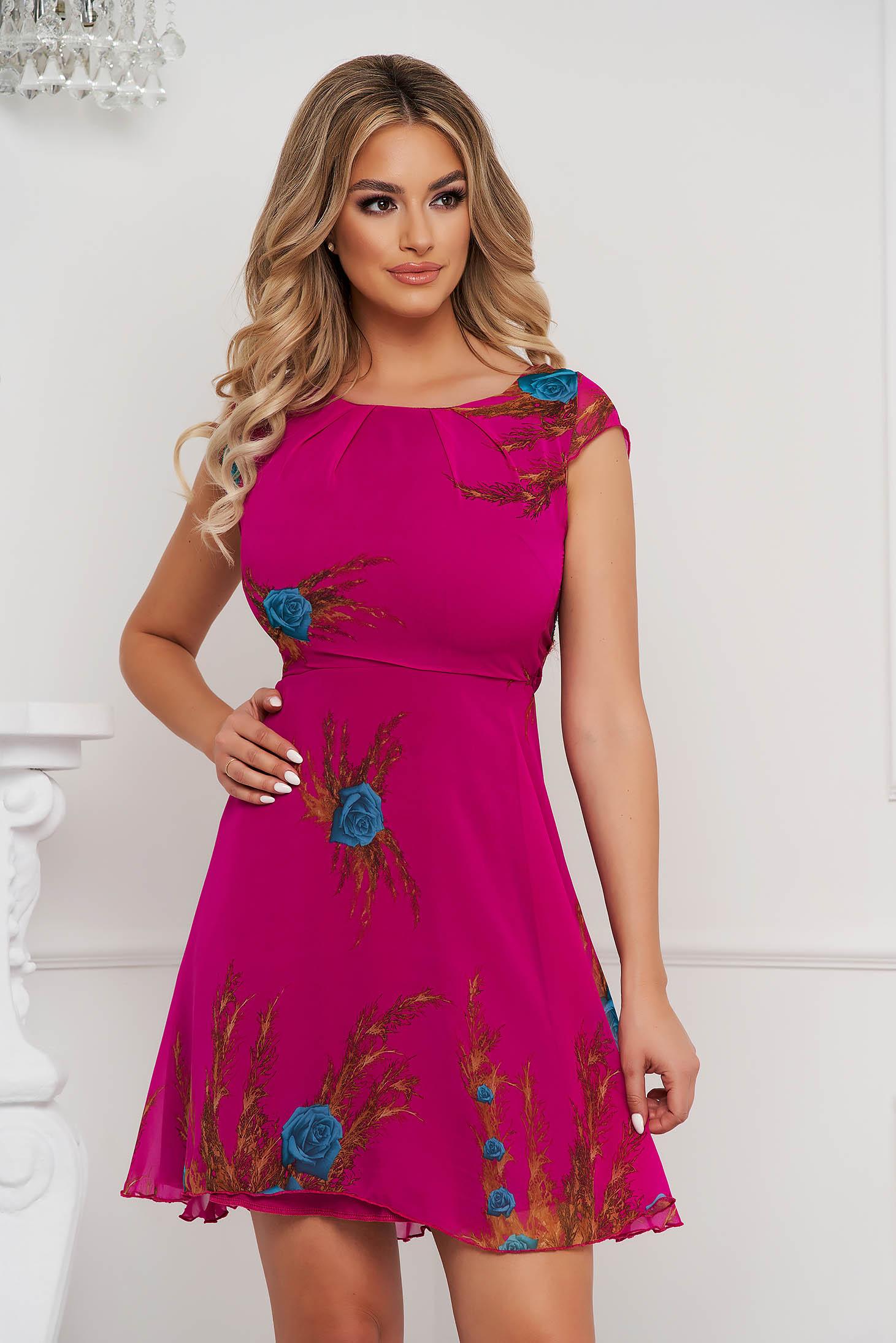 Fuchsia cloche dress with inside lining short cut from veil fabric short sleeves