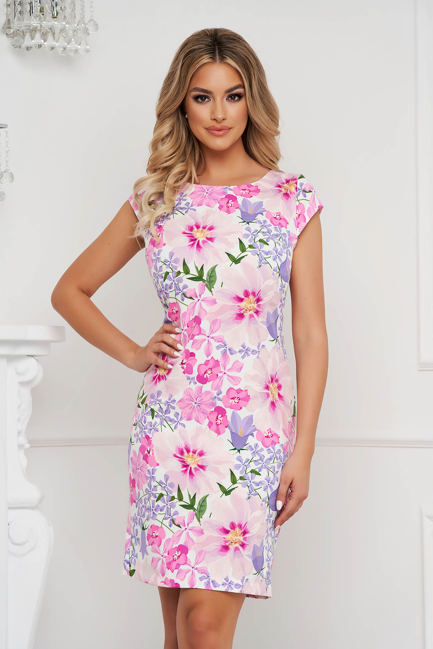 StarShinerS dress short cut with floral print non-flexible thin fabric office straight