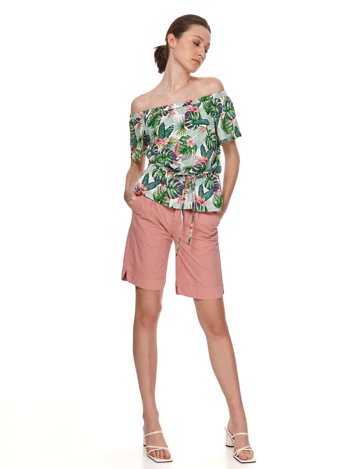 Bluza dama Top Secret verde cu croi larg din material vaporos cu umeri goi si snur in talie