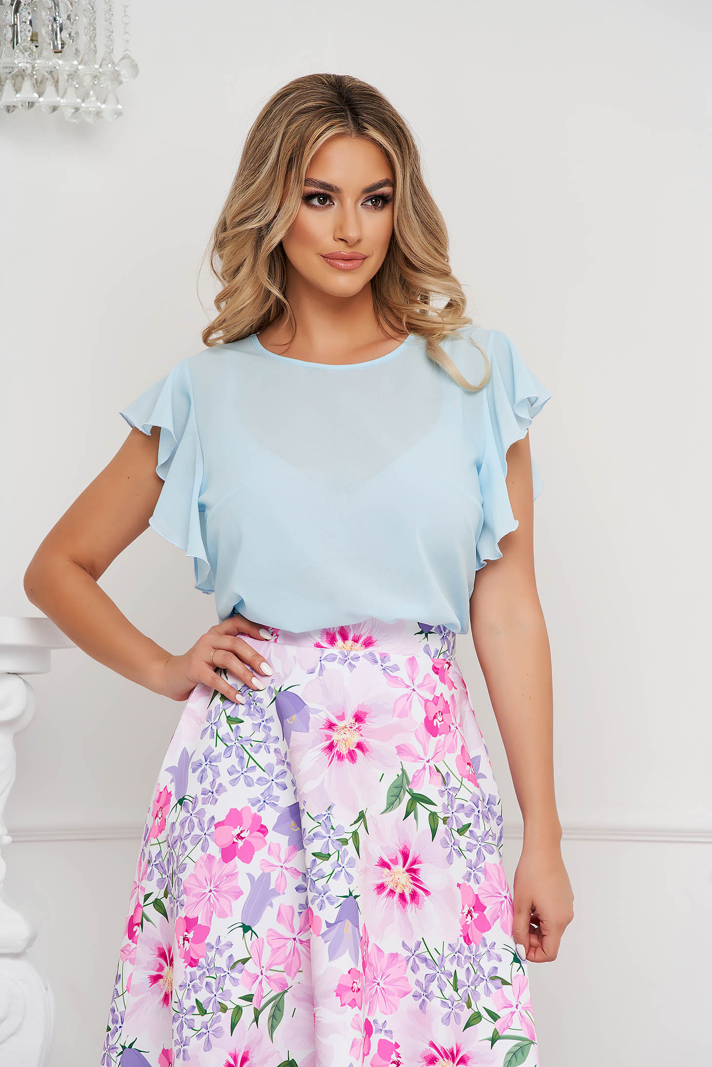 StarShinerS lightblue women`s blouse elegant with ruffle details loose fit with rounded cleavage