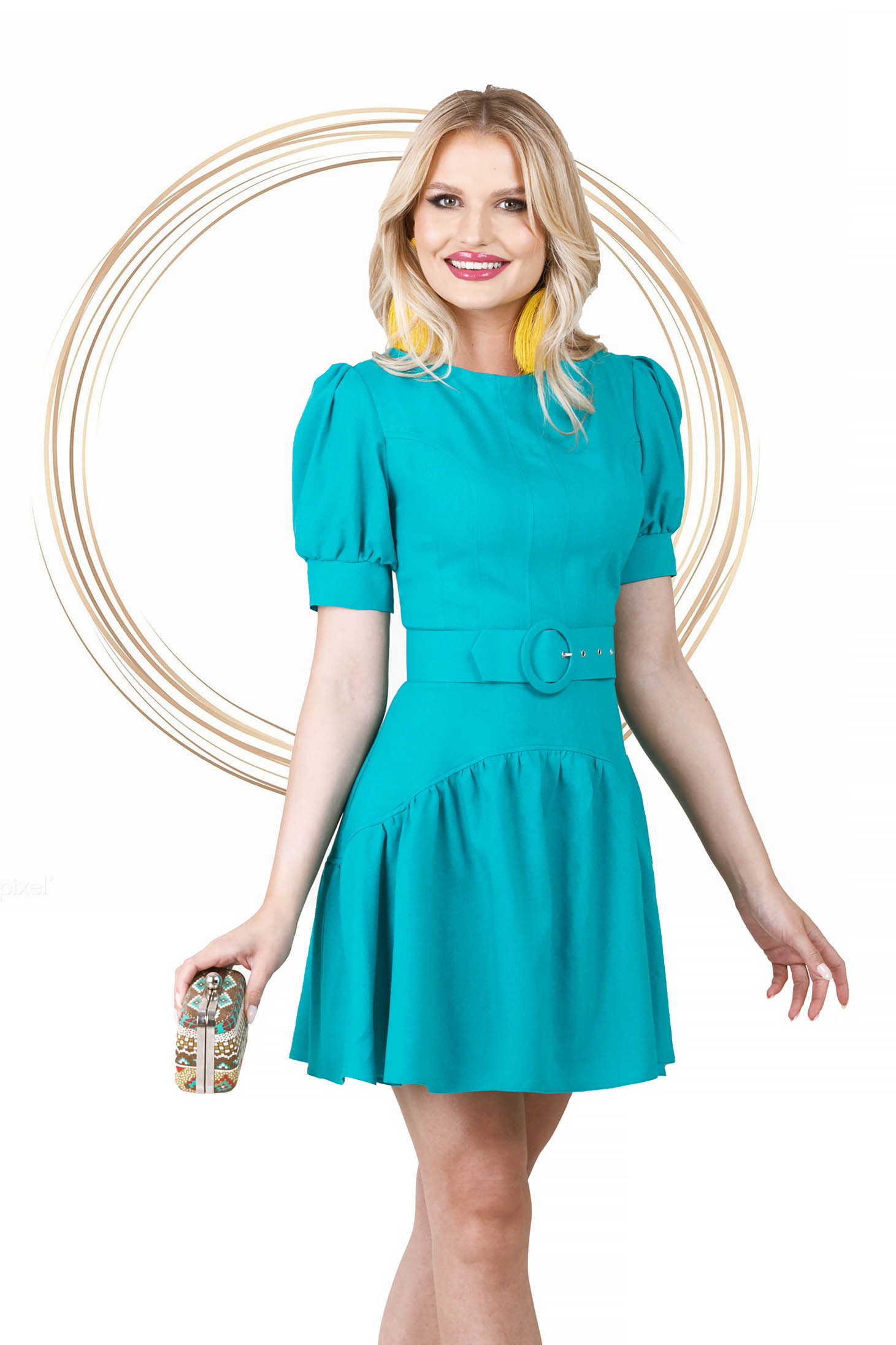 Turquoise dress short cut asymmetrical cloche high shoulders with ruffles at the buttom of the dress
