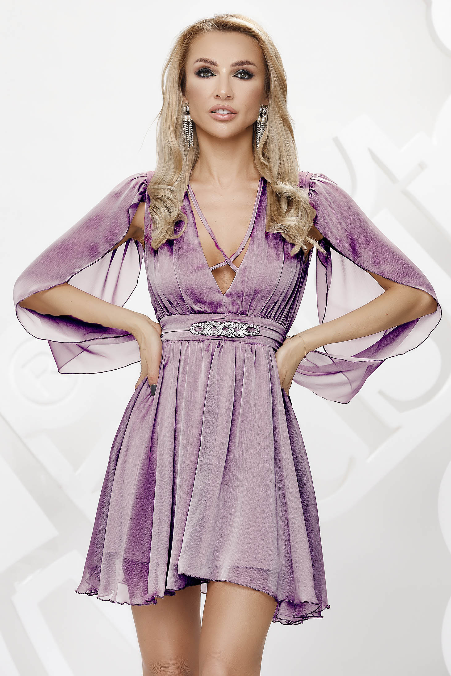 Lightpurple dress from veil fabric occasional cloche transparent chiffon fabric with embellished accessories