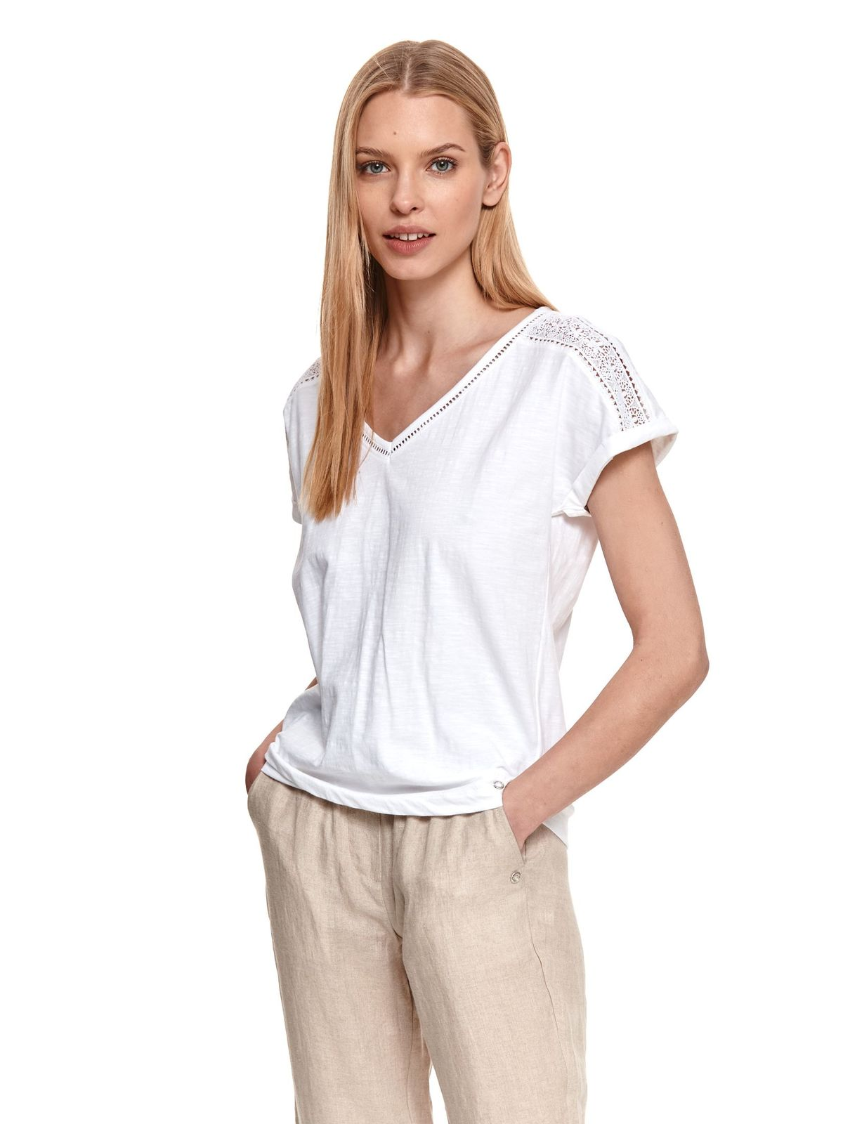 White women`s blouse cotton short sleeves loose fit