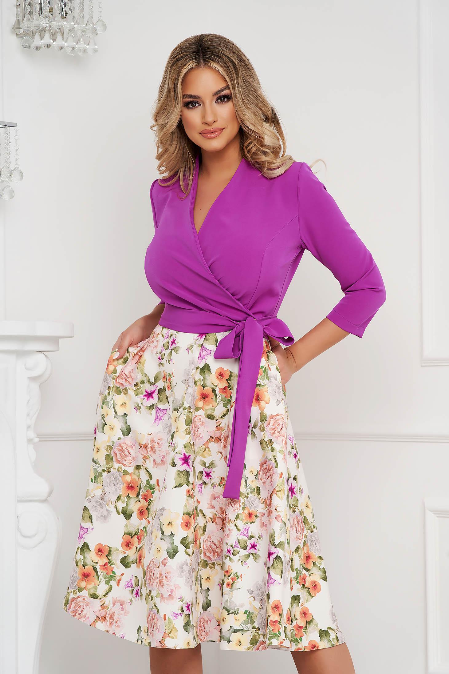 StarShinerS cloth midi cloche dress elegant wrap over front