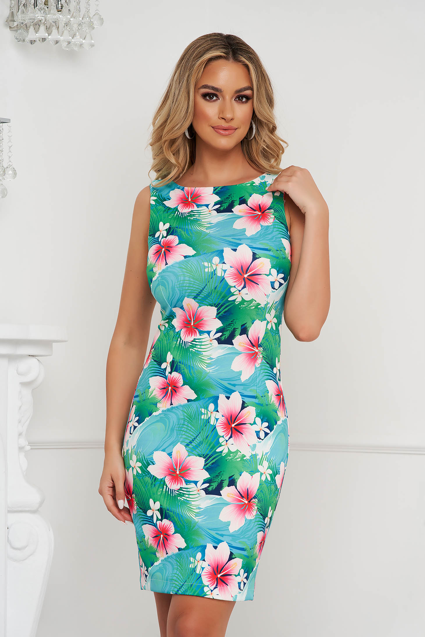 StarShinerS dress office short cut pencil with floral print sleeveless
