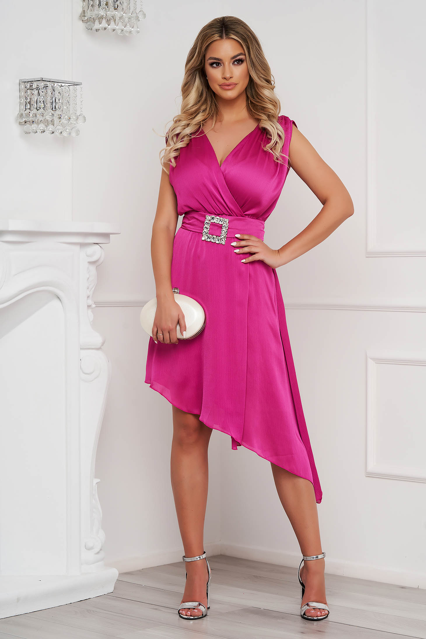 Fuchsia dress elegant asymmetrical cloche voile fabric allure of satin accessorized with tied waistband