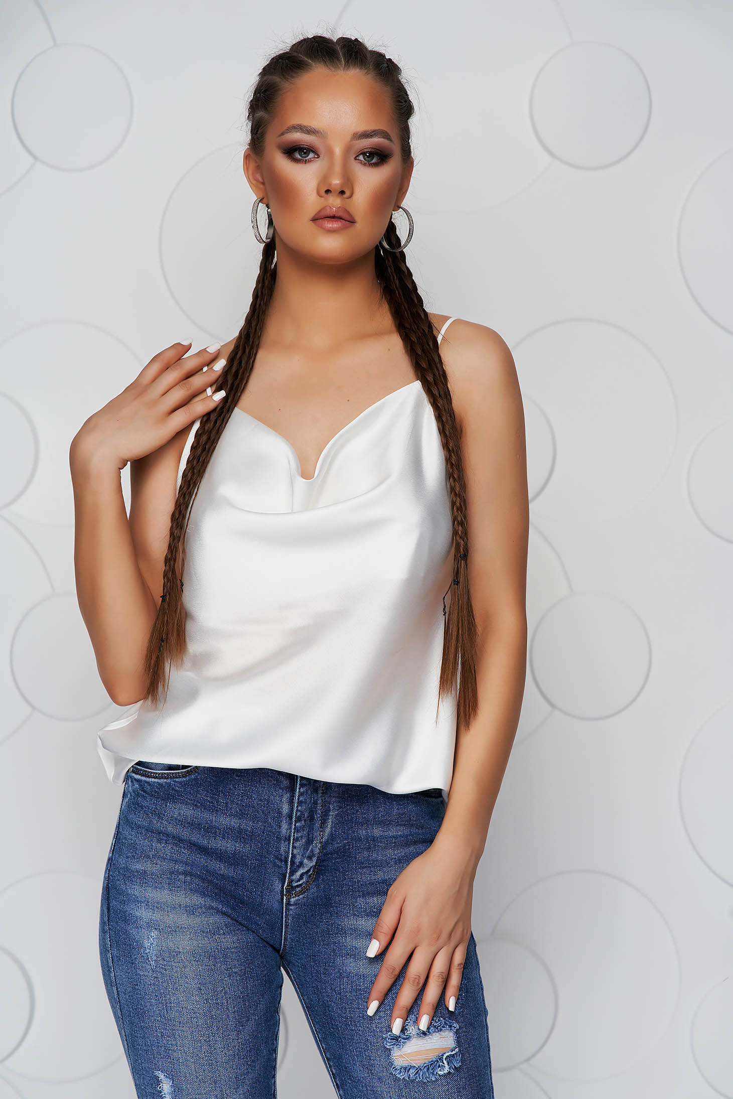 White top shirt loose fit from satin with straps cowl neck