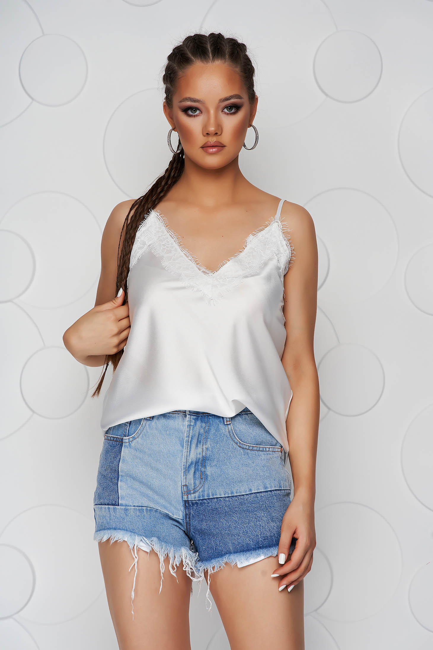 White top shirt loose fit from satin with straps with lace details