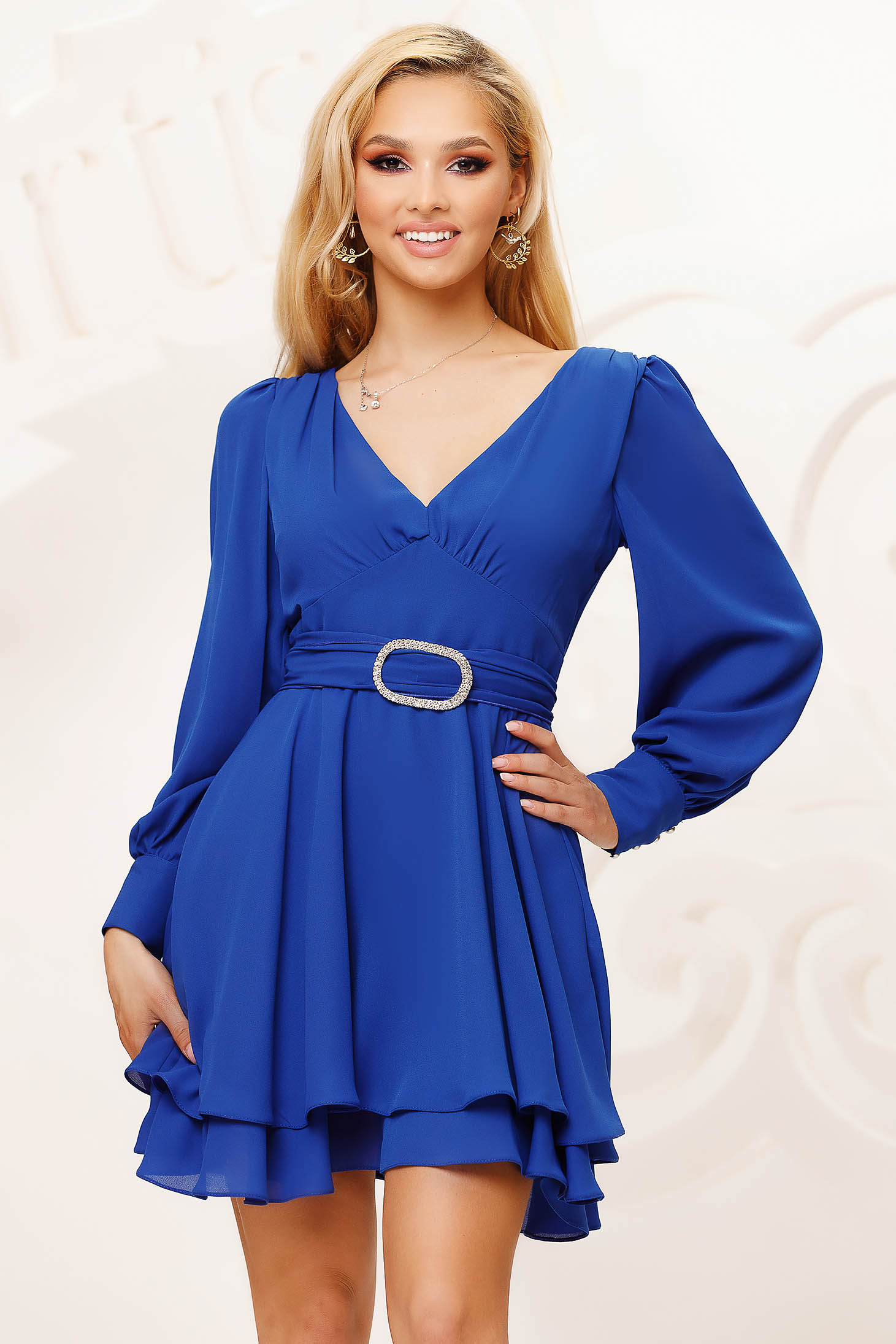Blue dress from veil fabric cloche short cut occasional with puffed sleeves
