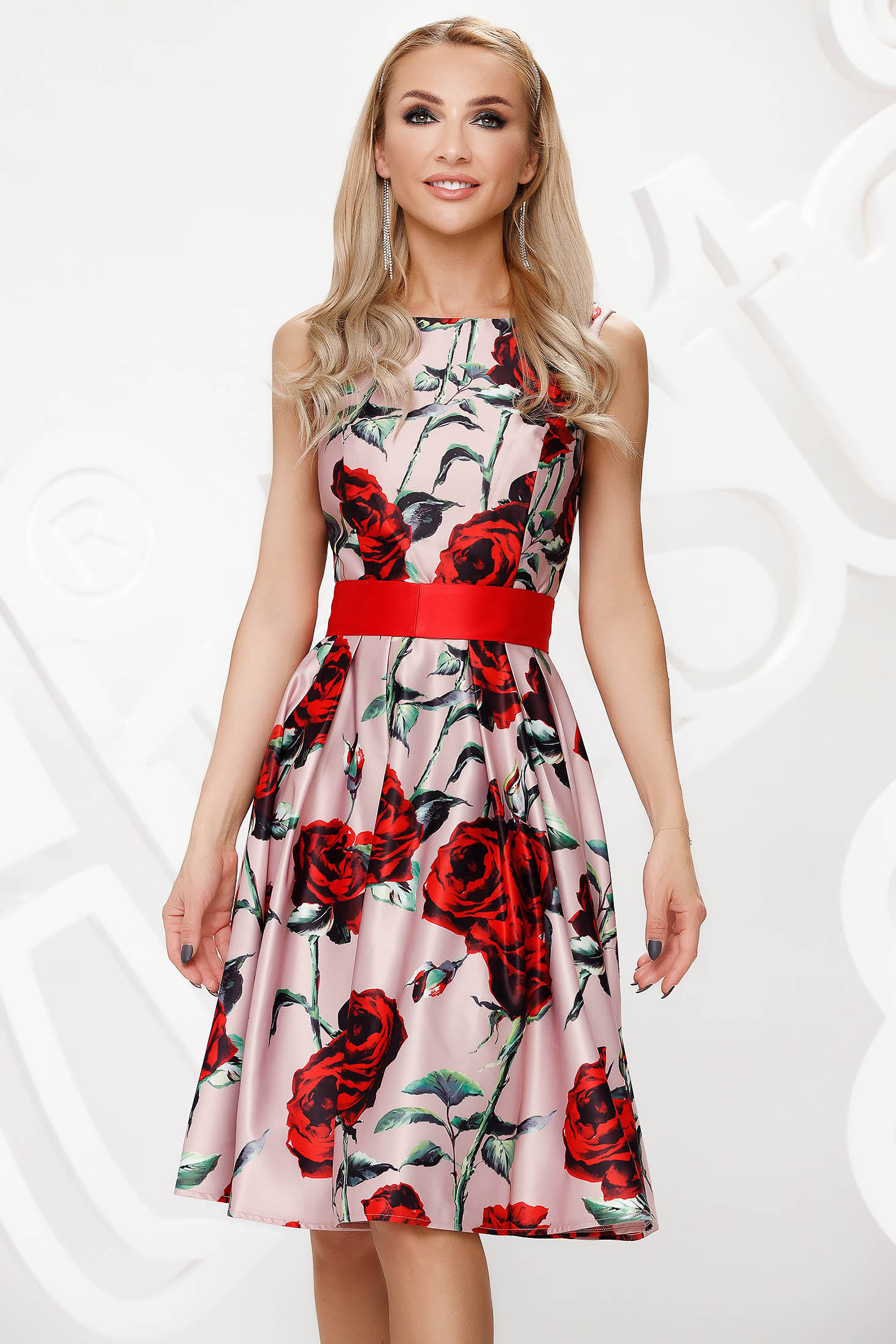 Dress from satin occasional cloche with floral print midi
