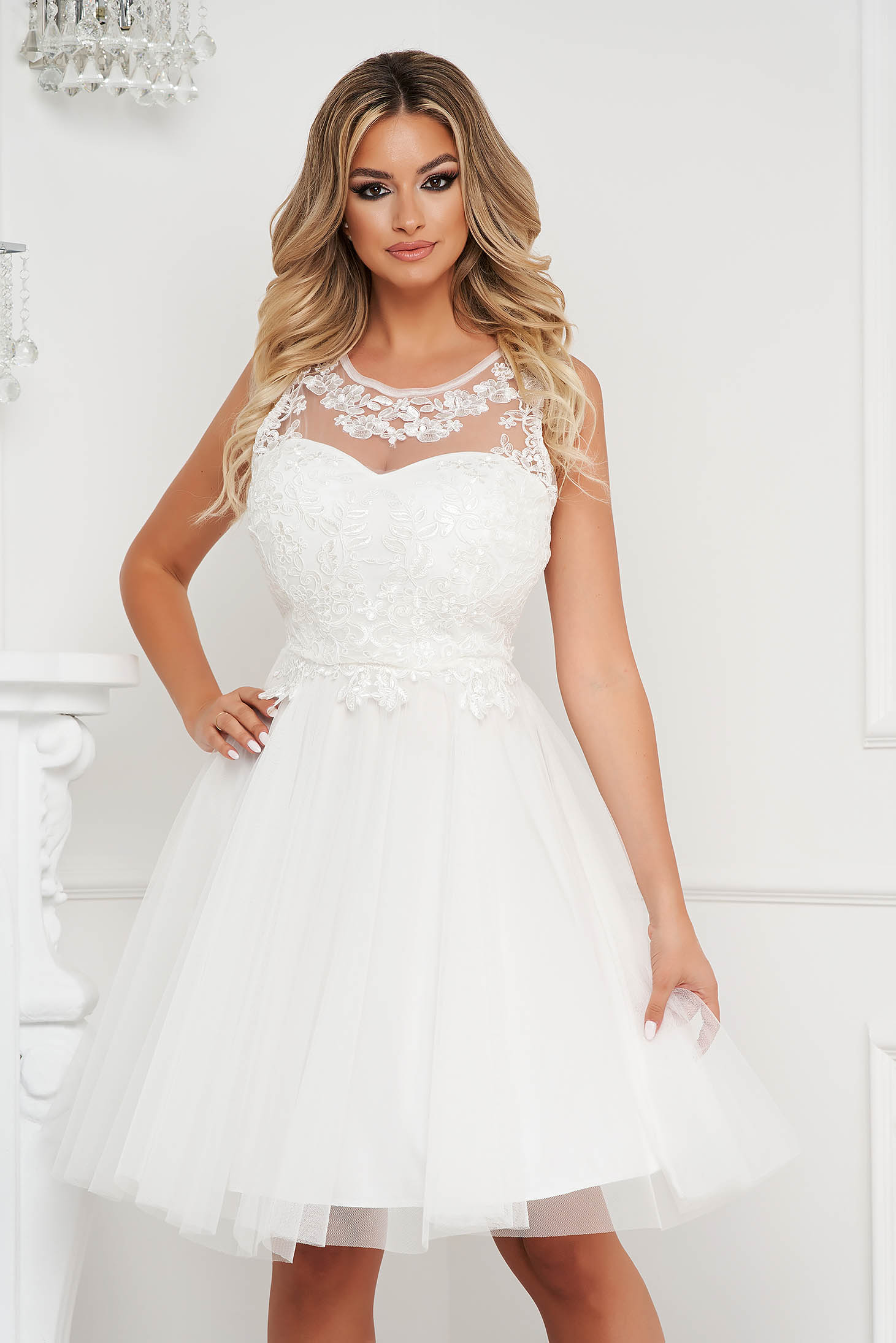 White dress midi occasional cloche from tulle sleeveless laced