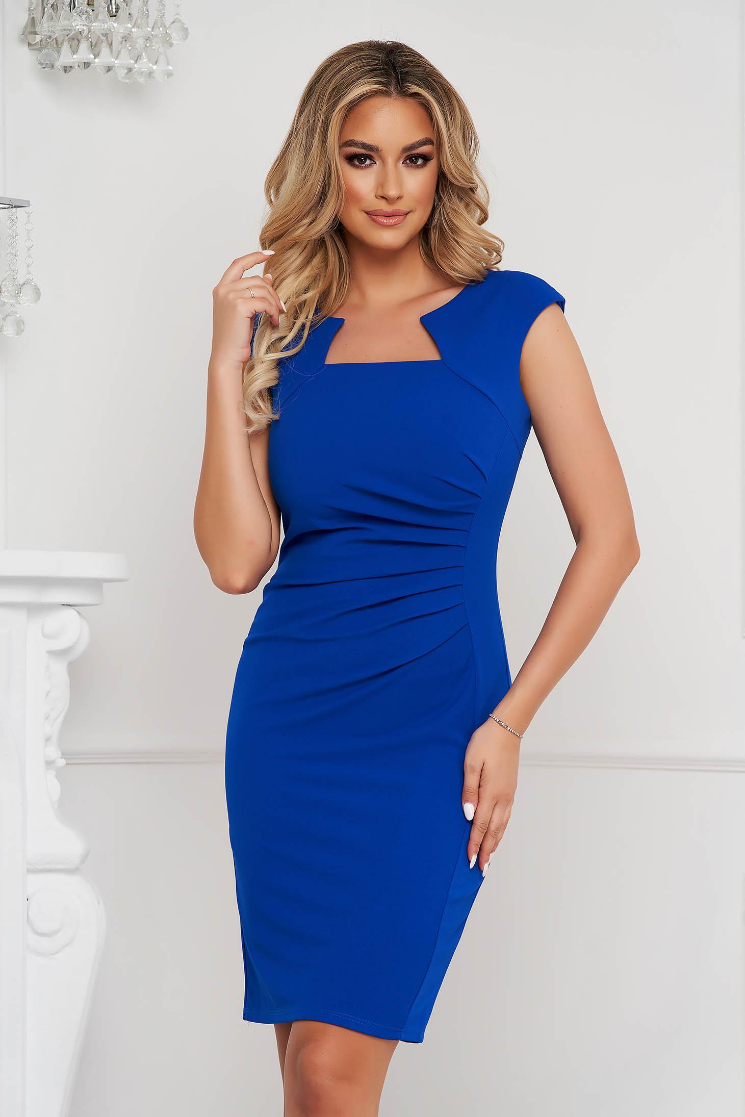 Blue dress office short cut pencil from elastic fabric short sleeves