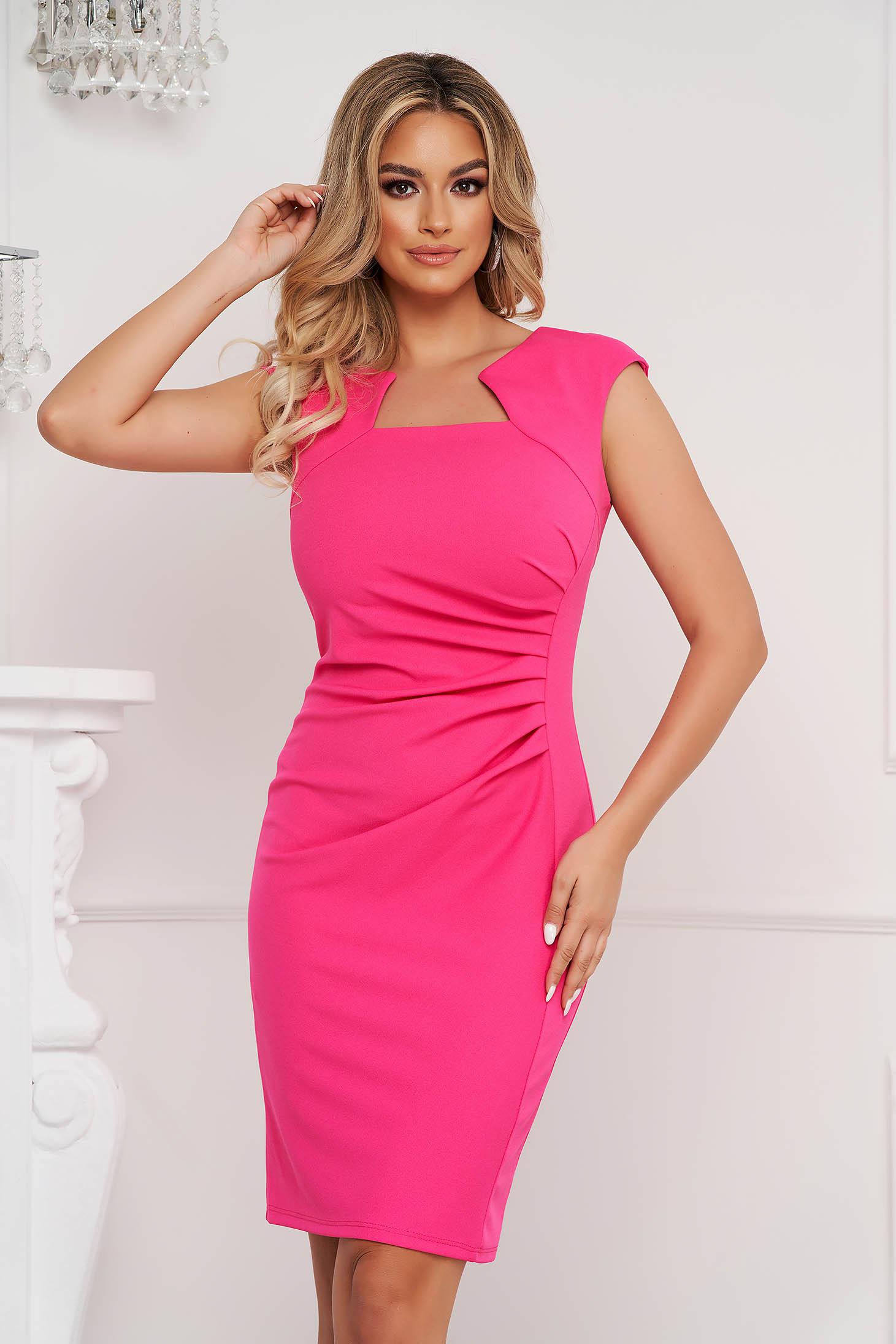 Pink dress office short cut pencil from elastic fabric short sleeves