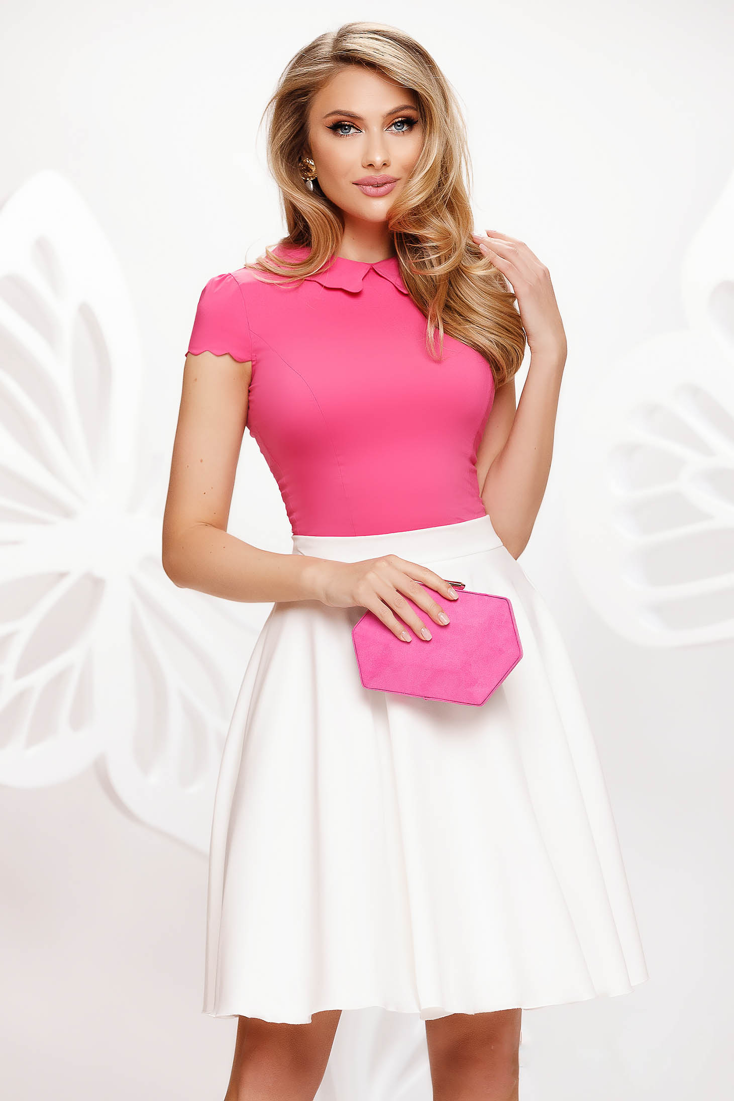 Pink women`s blouse office tented from elastic fabric short sleeves ruffled collar