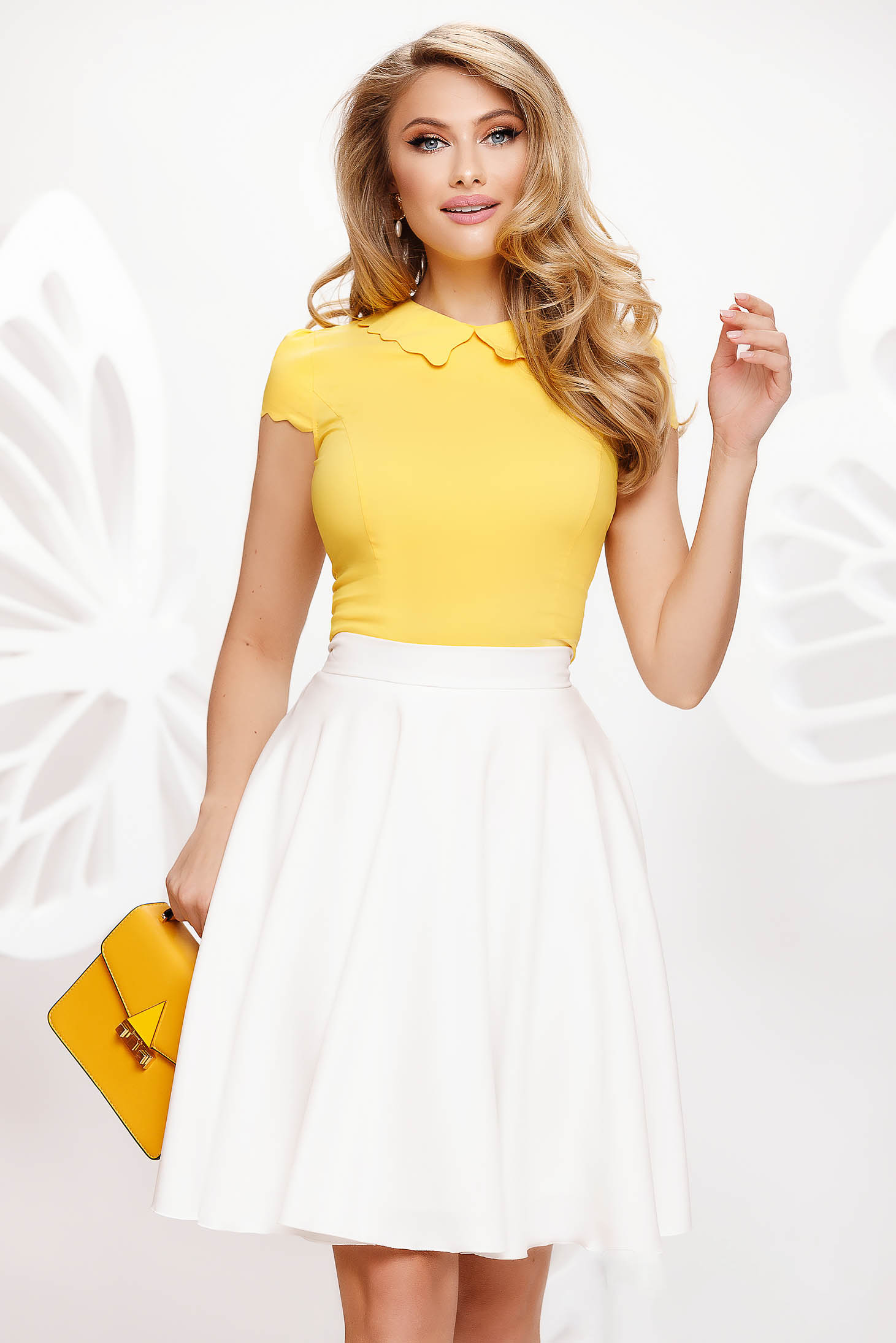 Yellow women`s blouse office tented from elastic fabric short sleeves ruffled collar